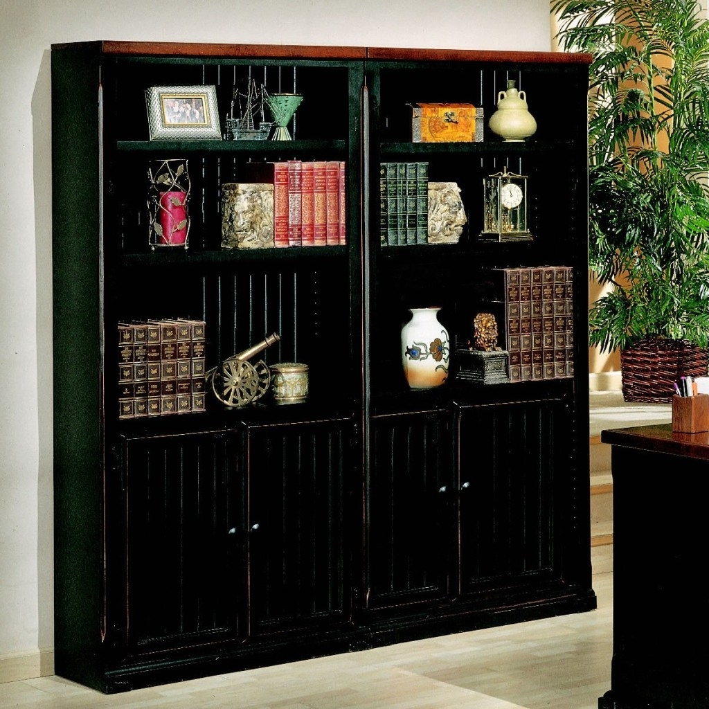Black Bookcase With Doors (Gallery 7 of 15)
