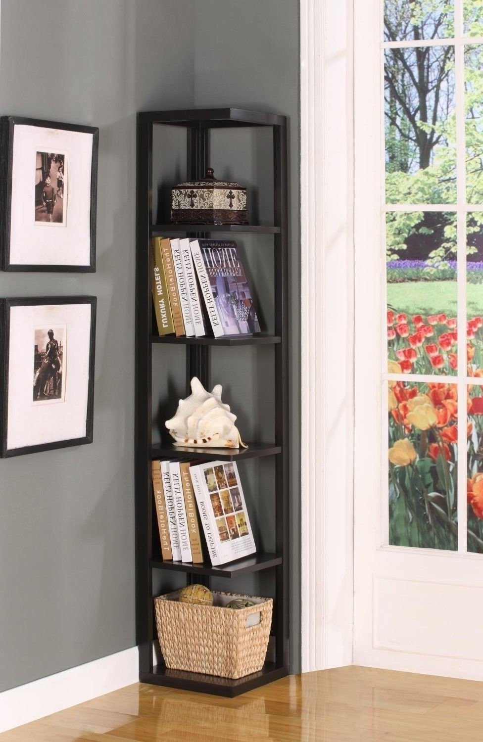 Black Corner Bookcases Regarding Fashionable Top 12 Amazing Corner Ladder Shelves For Your Home/office (View 9 of 15)