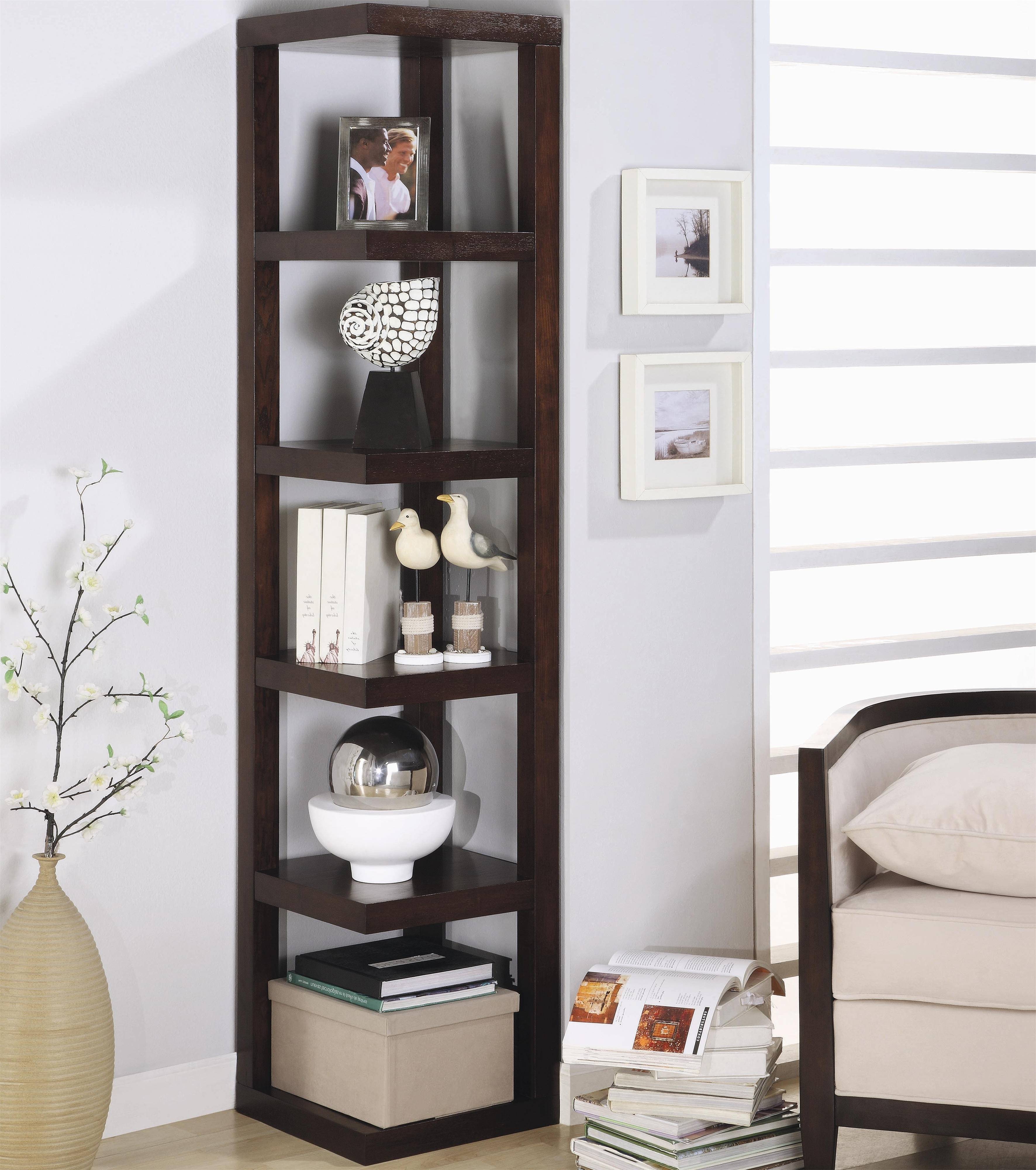 Black Corner Bookcases With Regard To Latest Coaster Contemporary Corner Bookshelf  (View 6 of 15)