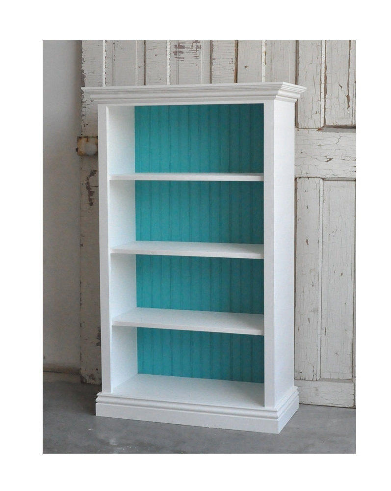 Bookcase In Distressed White And Teal. $ (View 9 of 15)