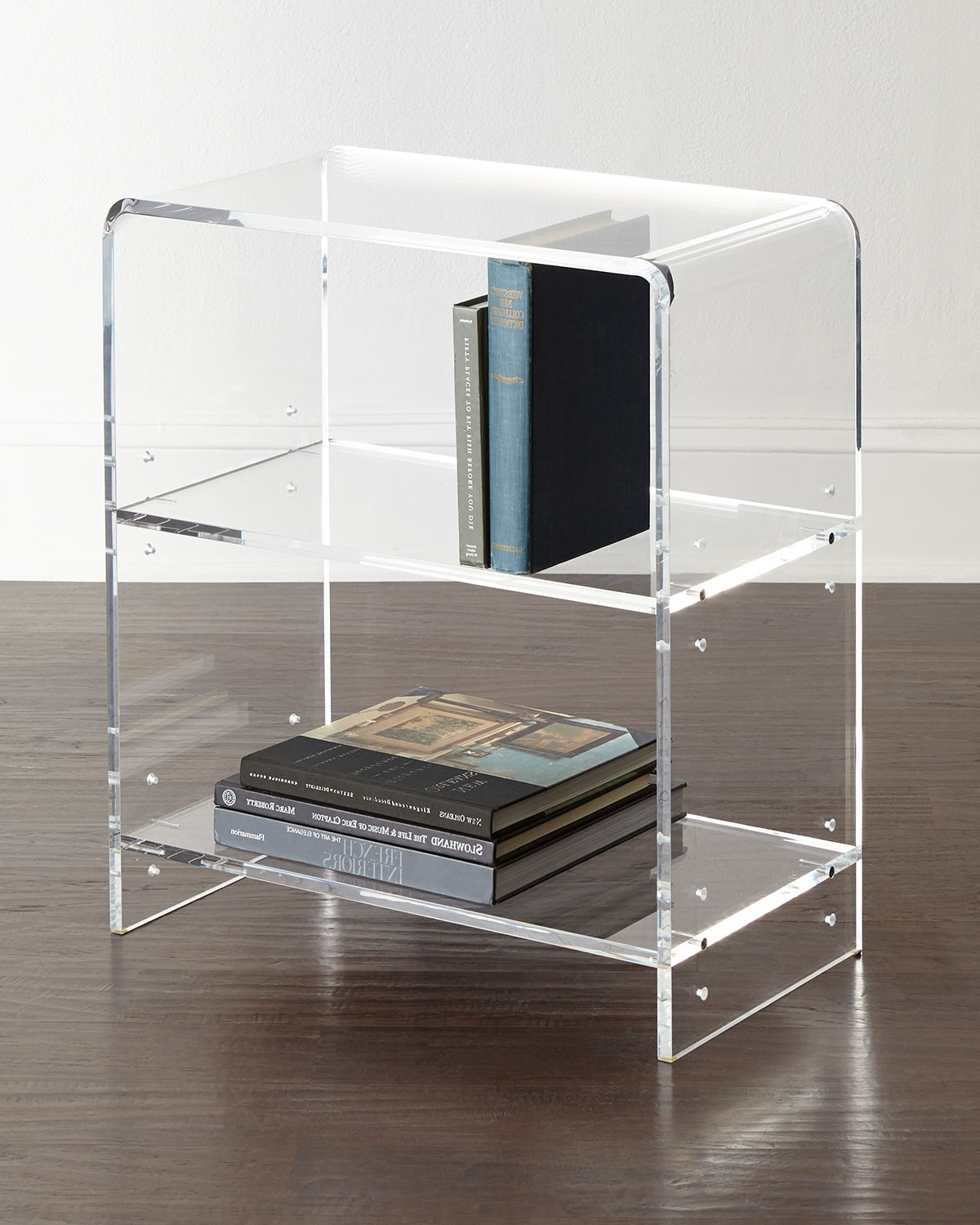 Bookcase Made Of Clear Acrylic With Waterfall Curves (View 3 of 15)