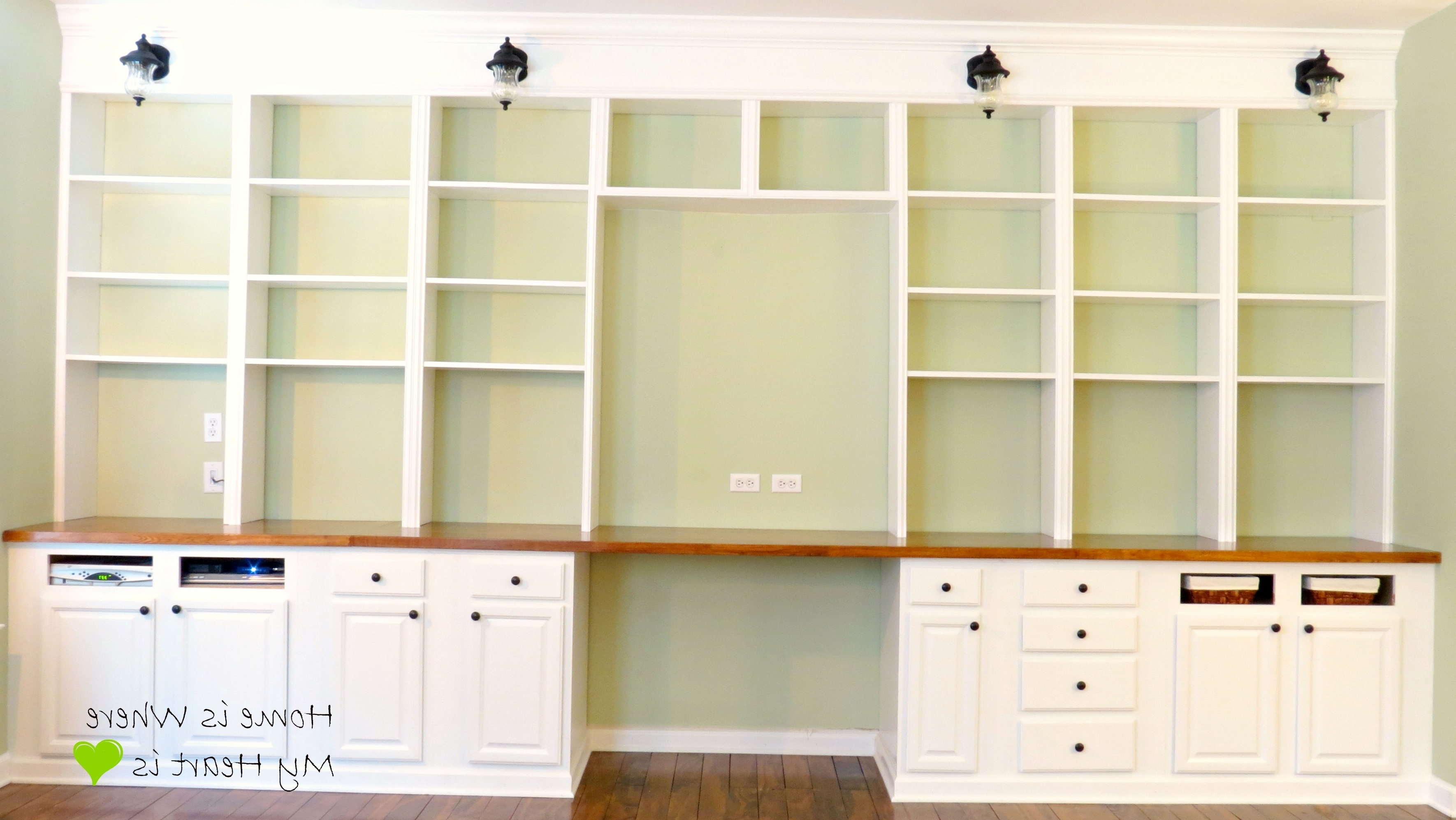 Bookcases Ideas: Computer Desk With Built In 4 Shelf Bookcase Pertaining To Latest Desk With Matching Bookcases (View 2 of 15)