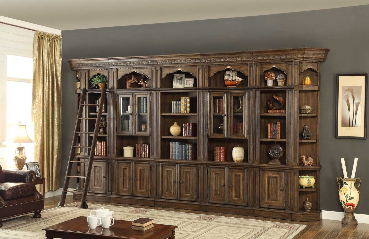 Bookcases Library Wall Unit Pertaining To Famous Wall Units (View 9 of 15)