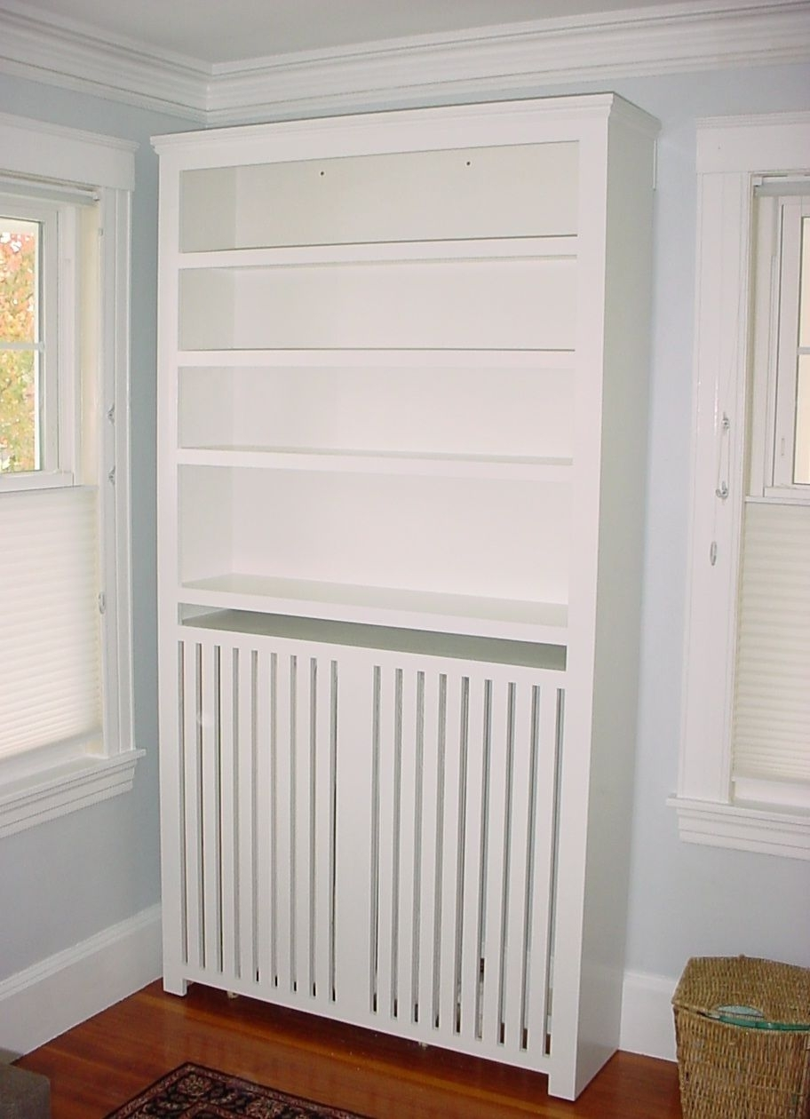 Bookcases Radiator Cover Within Widely Used Custom Furniture: Radiator Cover Bookcase In White Paint (View 5 of 15)