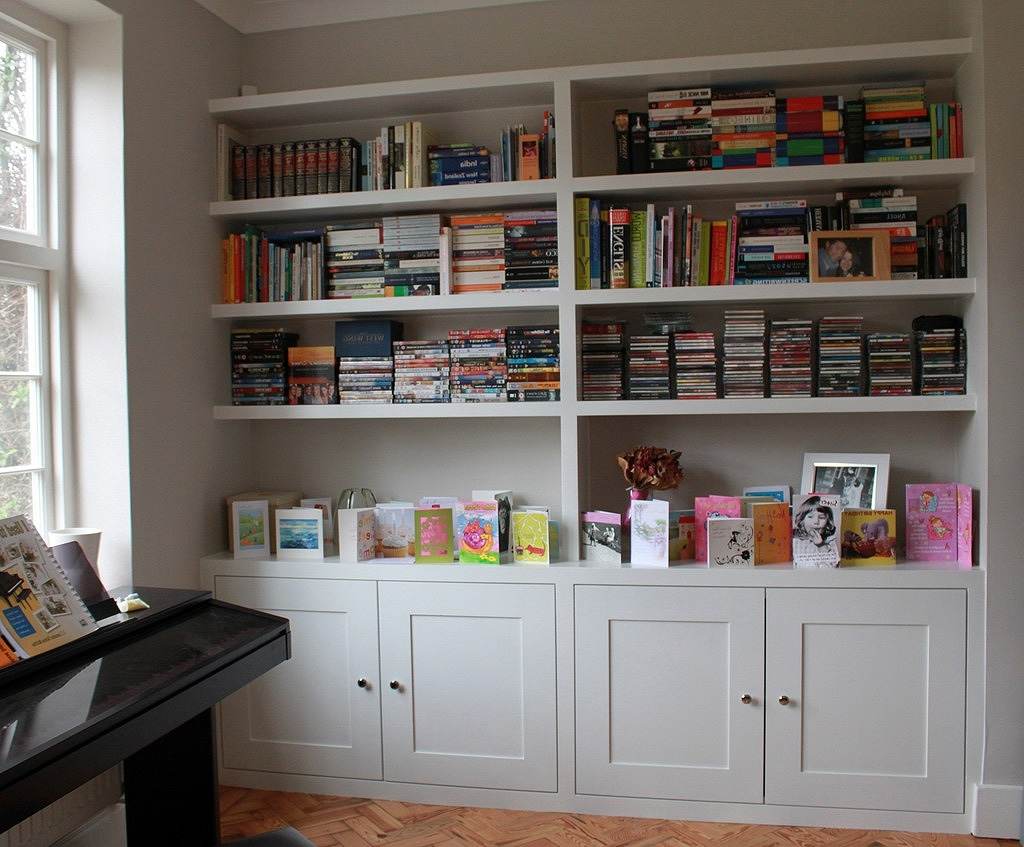 Bookcases With Cupboard Within Most Recent Wall Units: Awesome Custom Built In Bookshelves Custom Library (View 7 of 15)