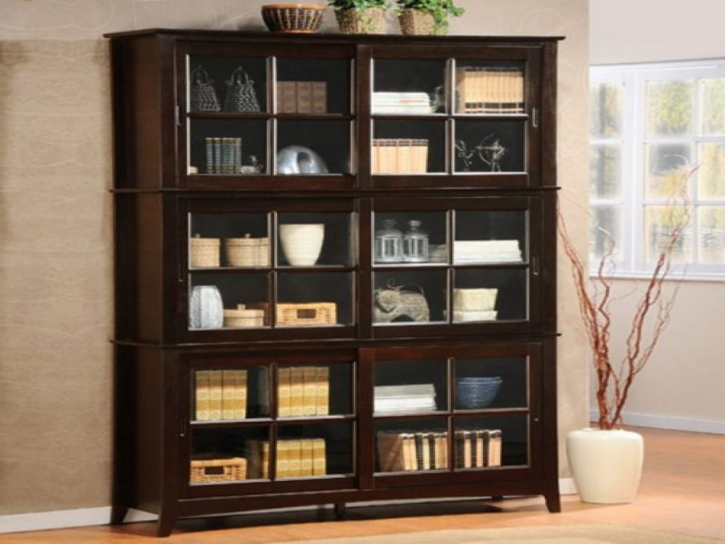 Bookcases With Sliding Glass Doors Inside 2017 Rectangle Black Wooden Bookshelf Comes With Sliding Glass Door (View 13 of 15)