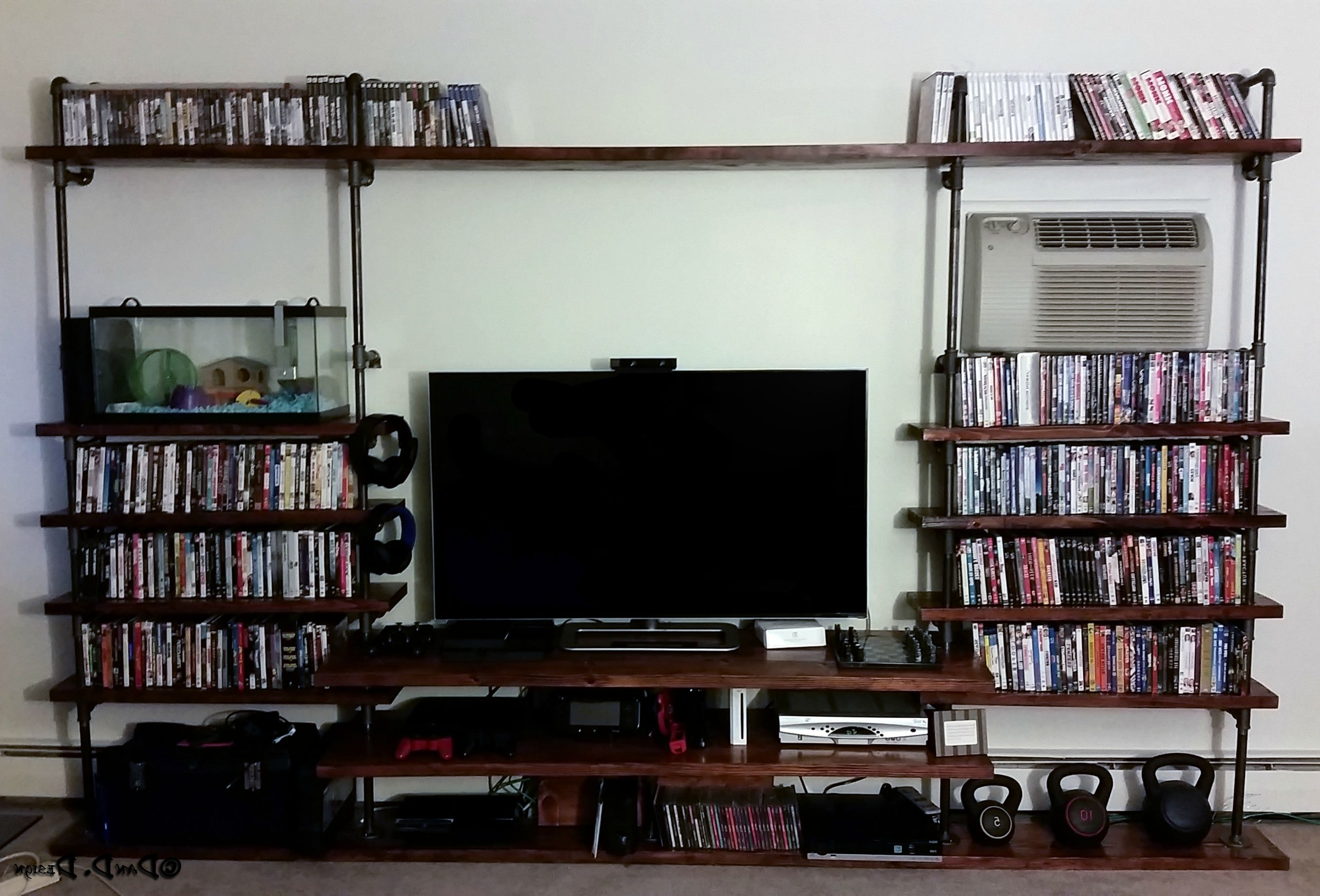 "Bookcases With Tv Shelf Intended For Latest Custom 3/4"" Black Pipe Shelves Tv Stand! (View 5 of 15)"