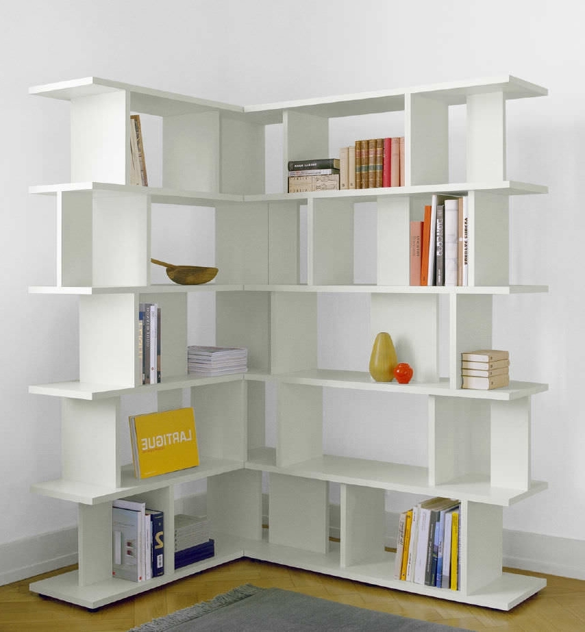 Bookshelf: Astounding Corner Bookcase White L Shaped Bookcase For Popular Corner Library Bookcases (View 4 of 15)