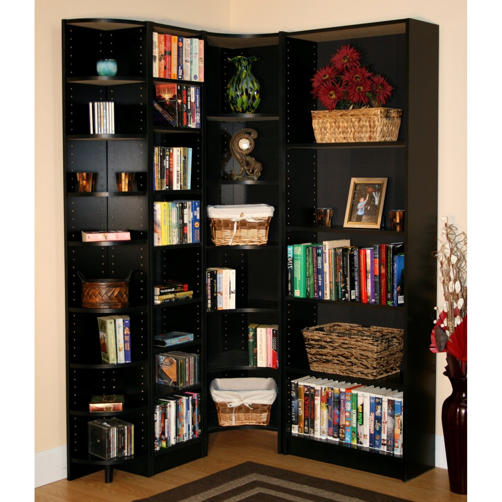 Bookshelf: Glamorous Ikea Corner Bookshelf Corner Bookcase With Within Latest Black Corner Bookcases (View 8 of 15)