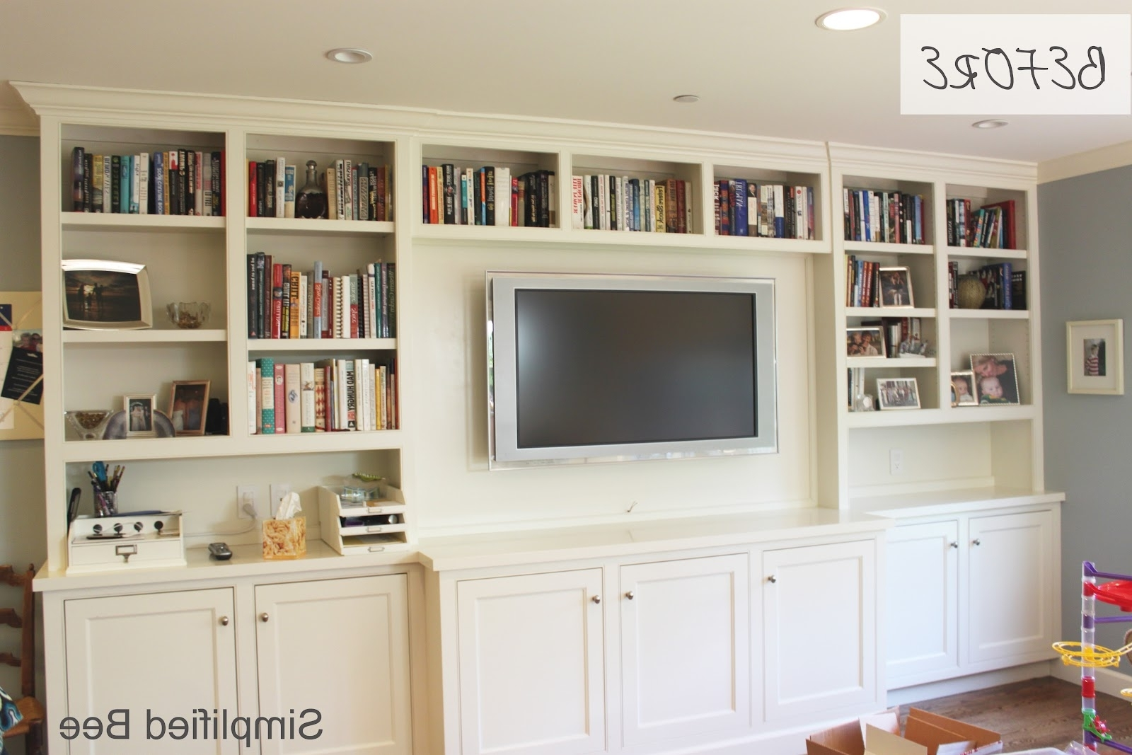 Bookshelf Styling: Before & After – Michaela Noelle Designs Inside Most Recent Built In Bookshelves With Tv (View 4 of 15)