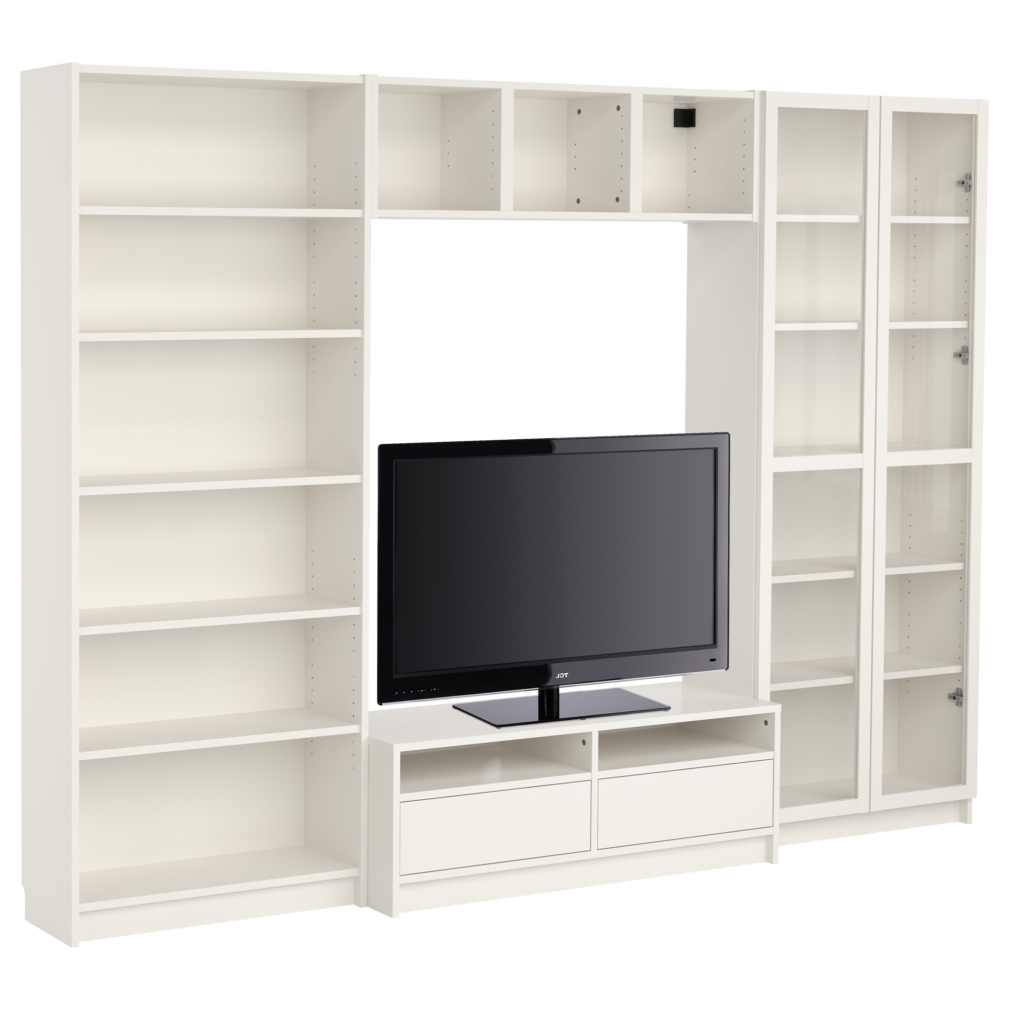 Bookshelves Drawer Combination Pertaining To Current Billy Bookcase Combination With Tv Bench – White – Ikea–add (View 7 of 15)