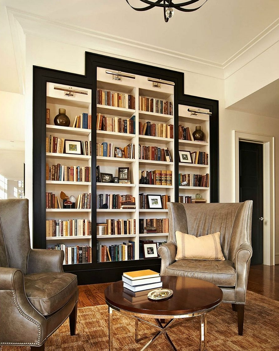 Bookshelves: Traditional Reading Room With Big Mounted Wall In 2018 Traditional Bookshelves Designs (View 2 of 15)