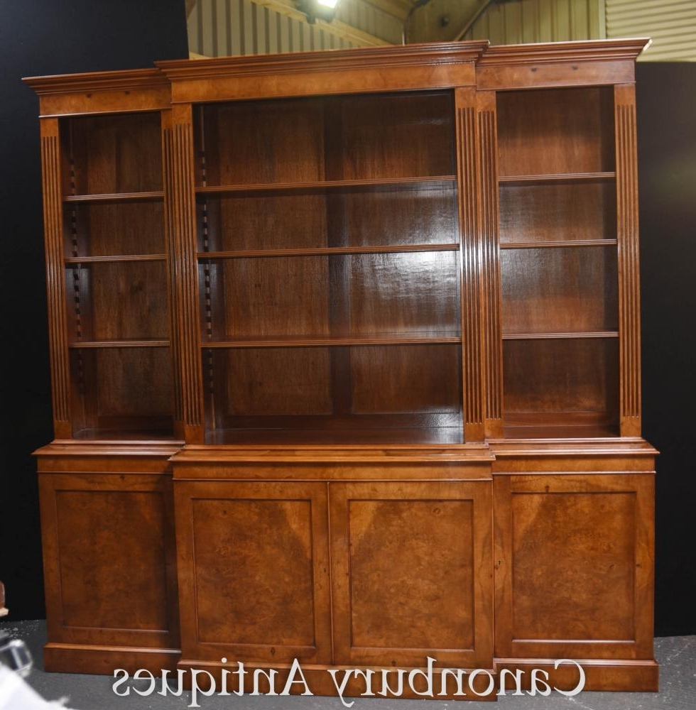 Break Front Bookcases Regarding Fashionable Walnut Bookcases (View 13 of 15)