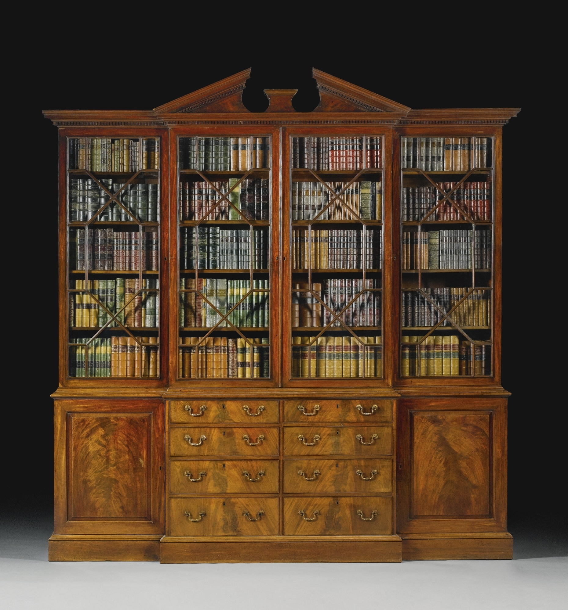 Breakfront Bookcases In Well Known A George Iii Mahogany Breakfront Library Bookcase<Br>Circa  (View 3 of 15)