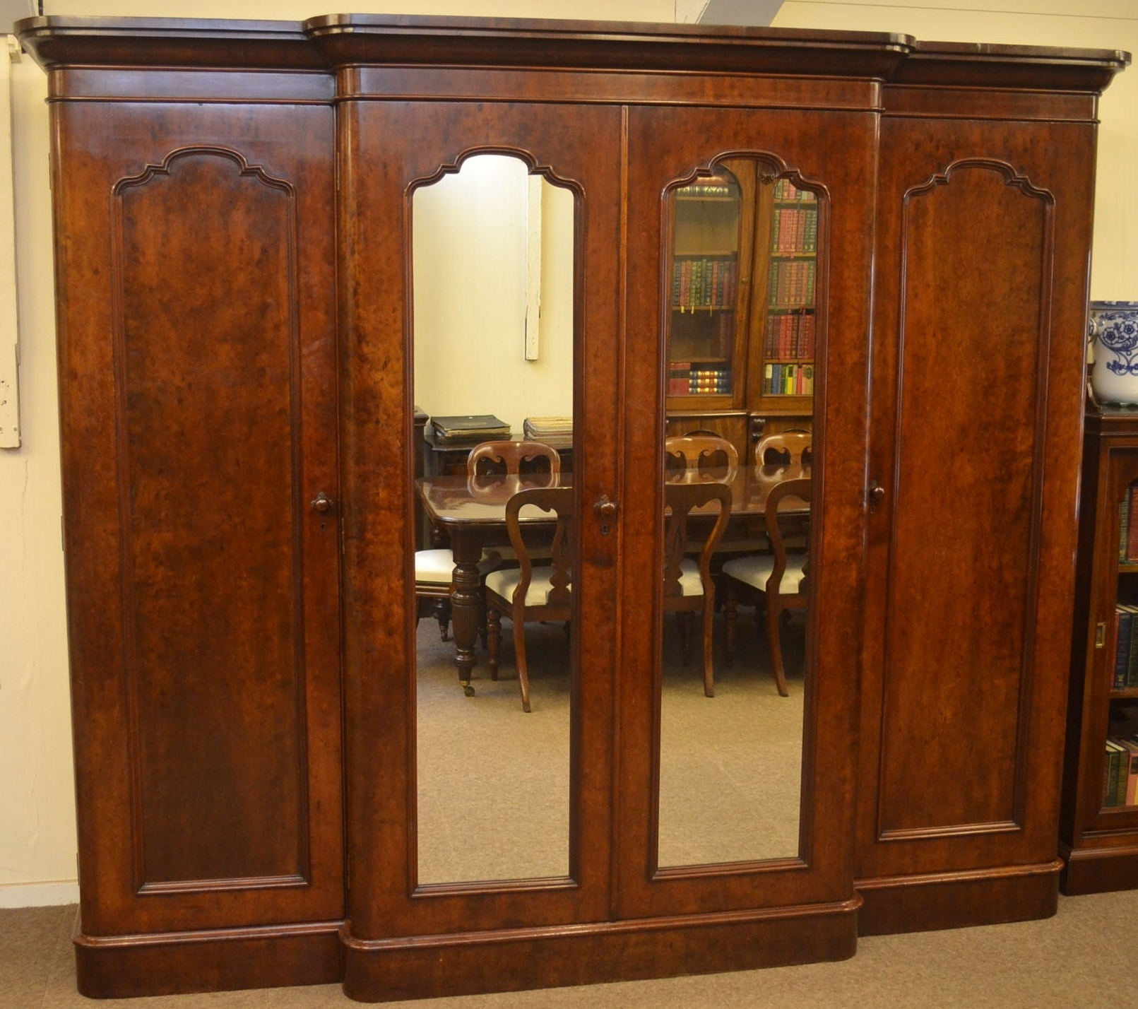 Breakfront Victorian Mahogany Wardrobe C1870 In From Quayside Antiques In Most Current Victorian Mahogany Breakfront Wardrobes (View 6 of 15)