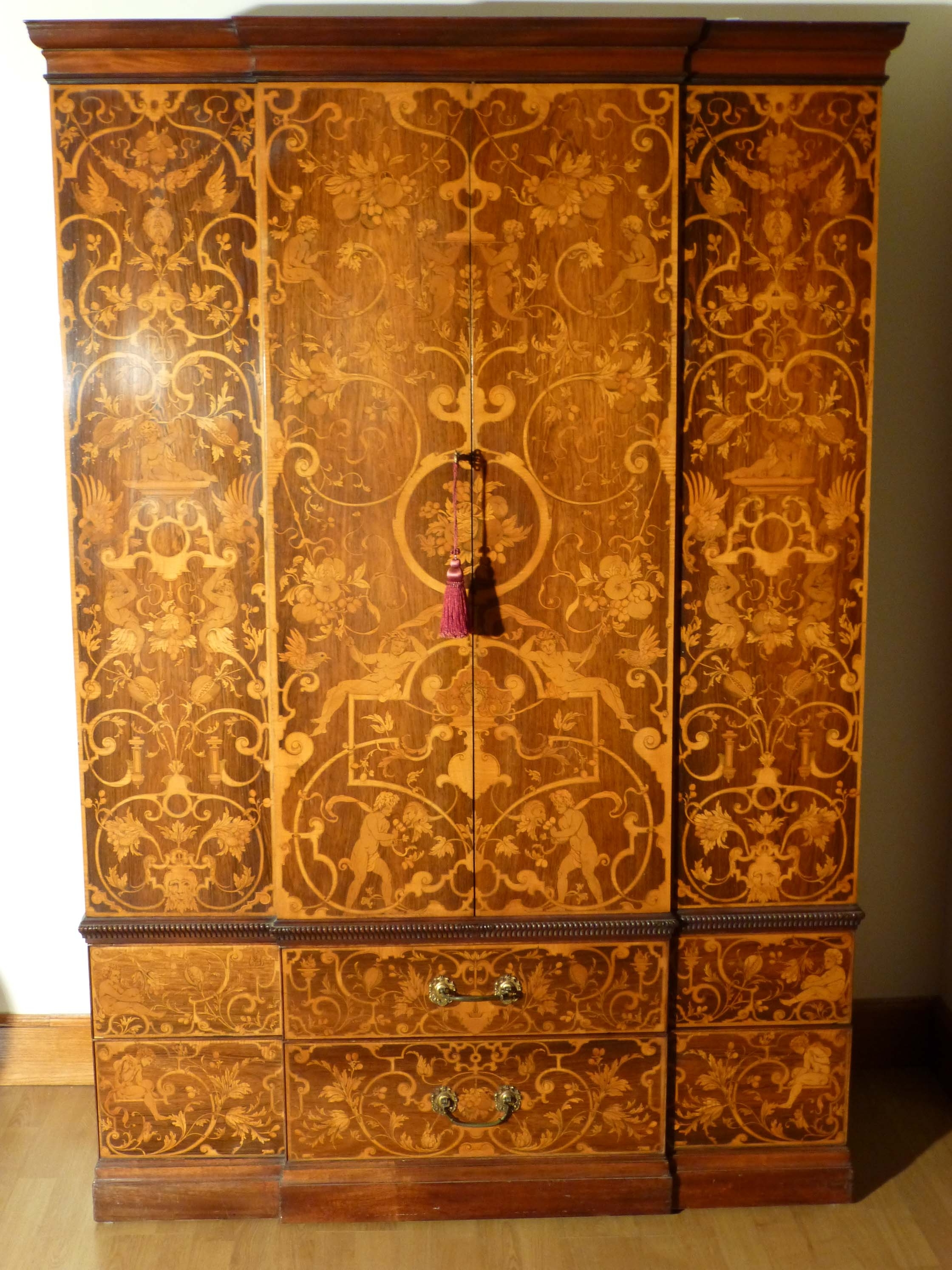Breakfront Wardrobe For Trendy Victorian Marquetry Breakfront Wardrobe (View 5 of 15)