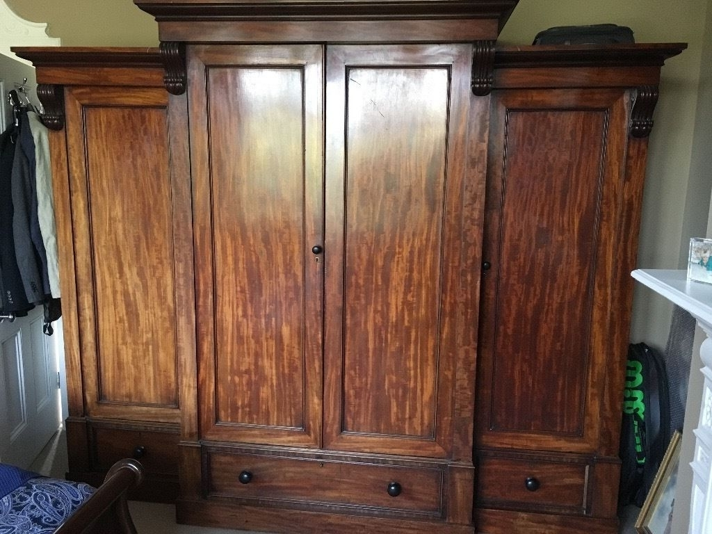 Breakfront Wardrobe Pertaining To Famous Large Antique Victorian Mahogany Breakfront Wardrobe (View 4 of 15)