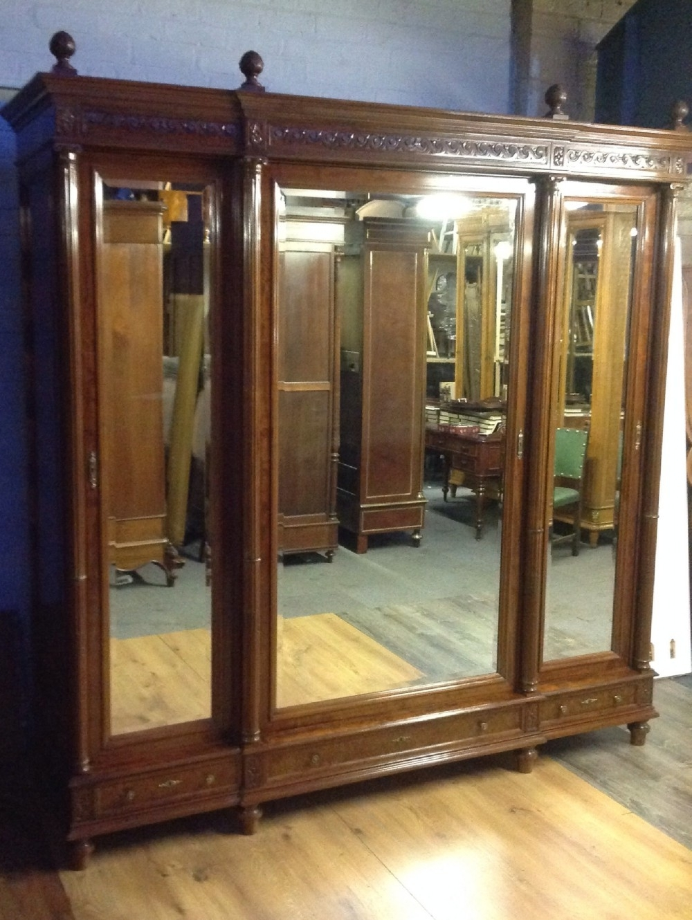 Breakfront Wardrobes Regarding Most Current Large Breakfront Triple Mirror French Armoire (View 3 of 15)