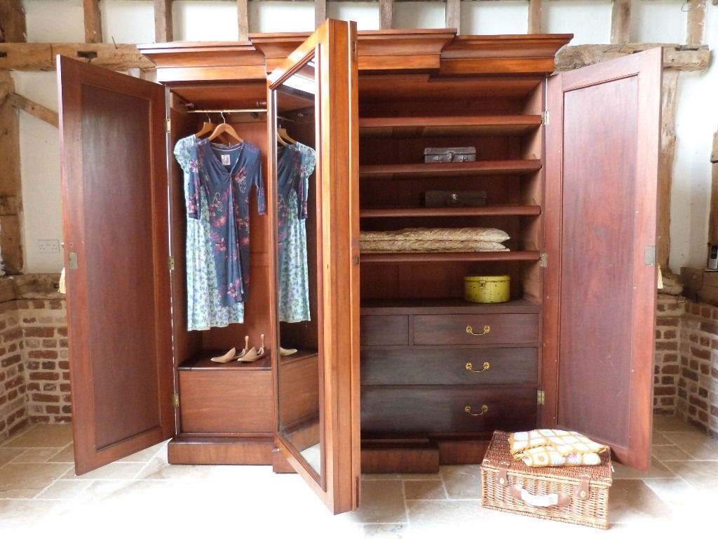 Breakfront Wardrobes Throughout Well Known Large Victorian Mahogany Triple Breakfront Linen Press Compactum (View 7 of 15)