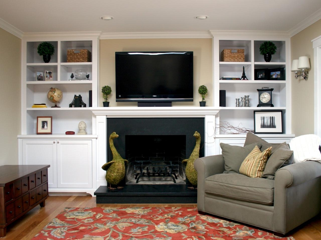 Built In Bookcases With Tv For Well Known Fireplace With Sculpture Animals Plus Wall Tv Also Built In White (View 3 of 15)