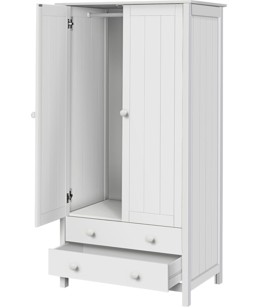 Buy Kids Scandinavia Tall 2 Door 2 Drawer Wardrobe – White At Within Favorite Childrens Wardrobes With Drawers And Shelves (View 5 of 15)