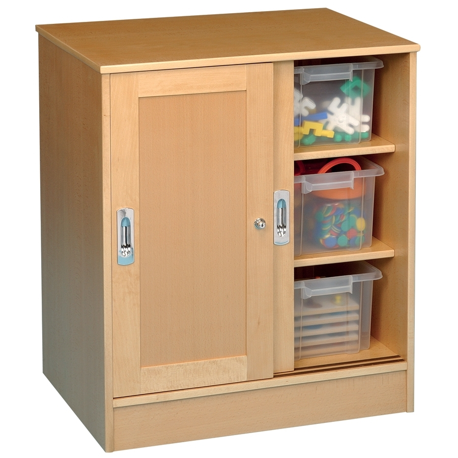 Buy Medium Beech Lockable Storage Cupboard (View 2 of 15)