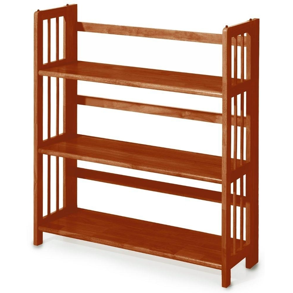 Casual Home Honey Oak Folding/stacking Open Bookcase 0949510830 Pertaining To Favorite Mission Style Bookcases (View 2 of 15)