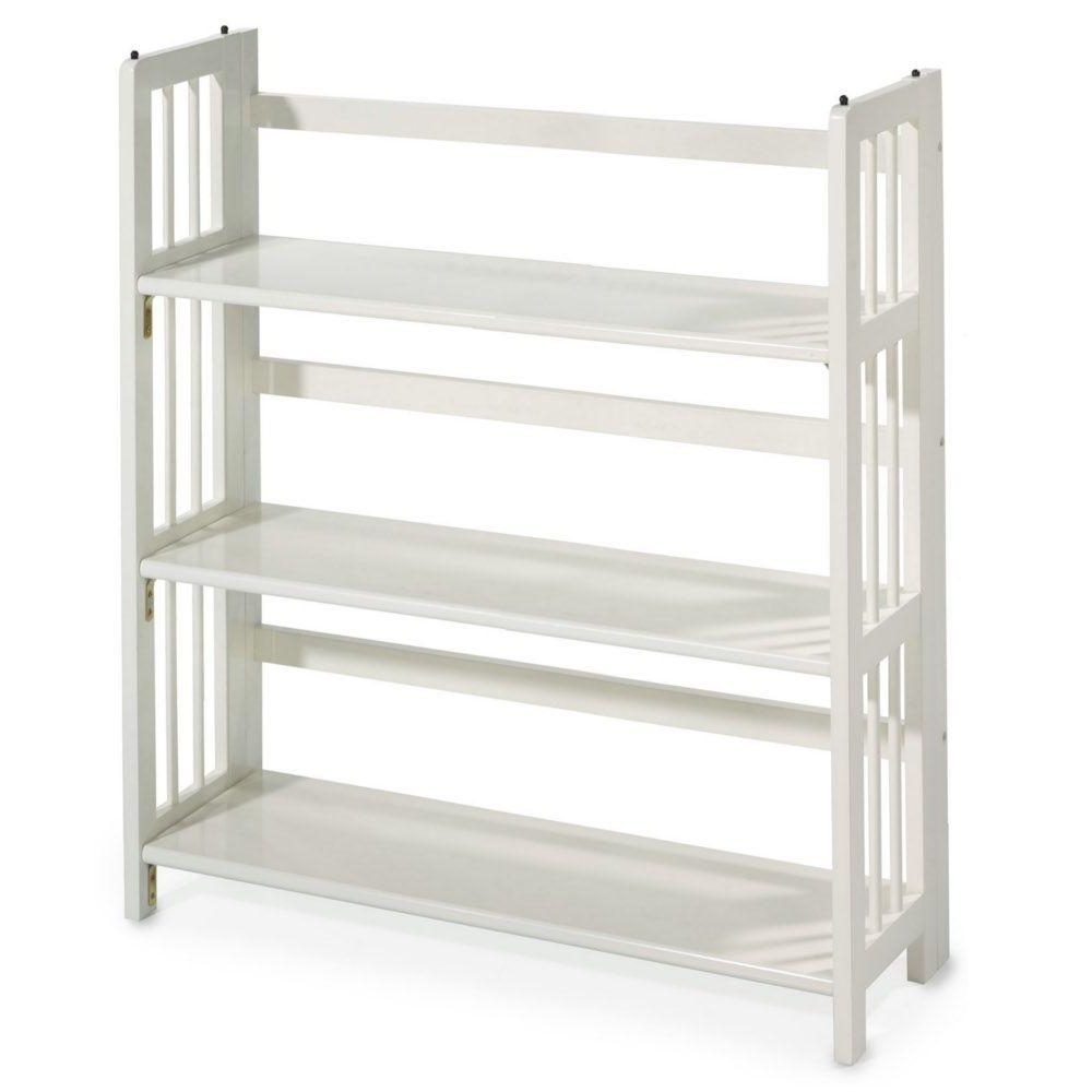 Casual Home White Folding/stacking Open Bookcase 0949520410 – The Regarding Fashionable 8 Inch Deep Bookcases (View 3 of 15)