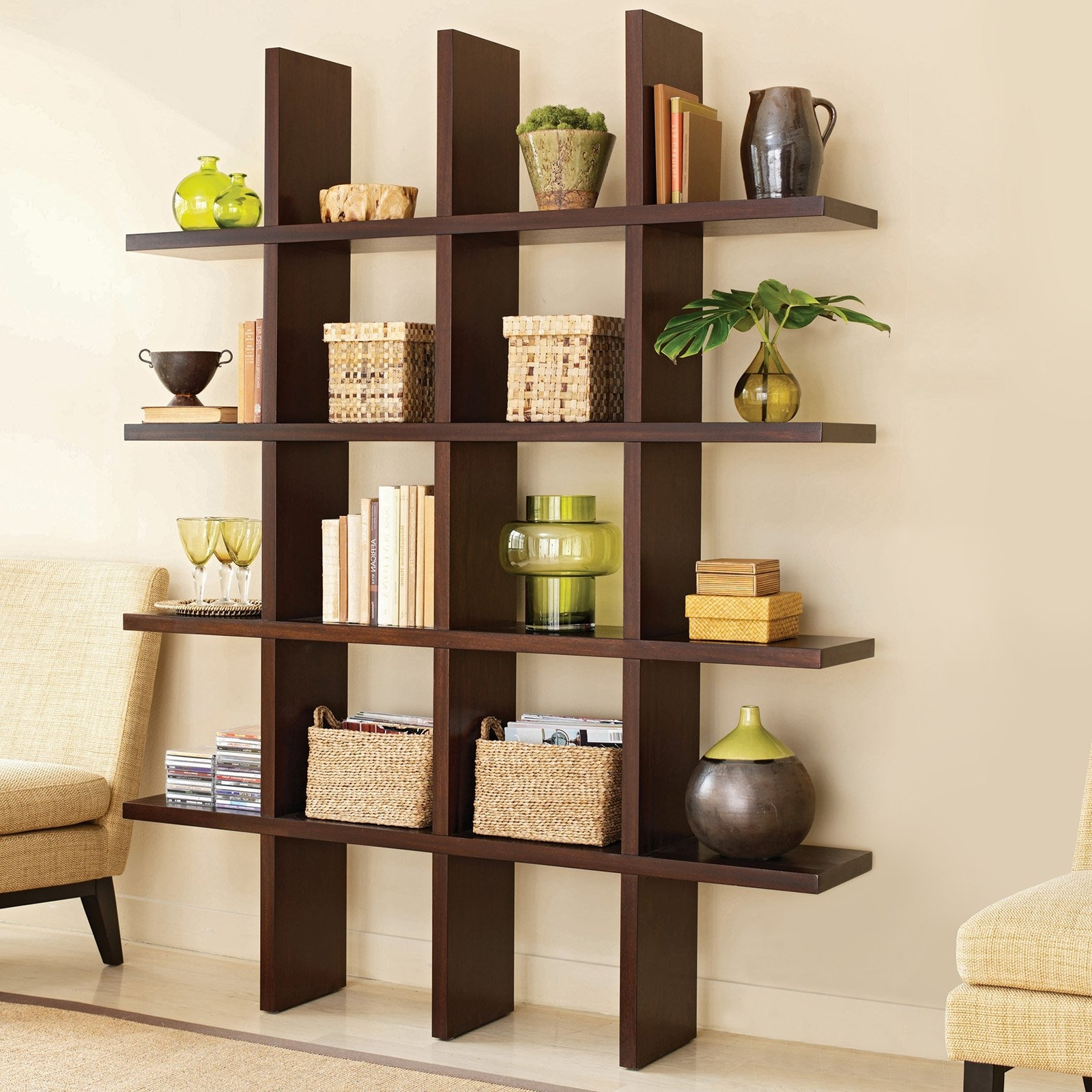 Chair Bookcases With Regard To Favorite Brown Stained Wooden Medium Narrow Bookshelf As Room Divider With (View 7 of 15)