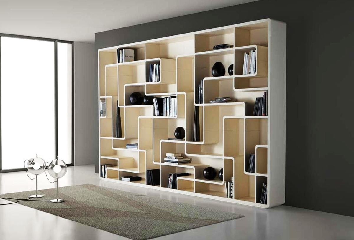 Charming White Wooden Bookshelf Design With Beautiful Curvy In Well Liked Unusual Bookcases (View 2 of 15)
