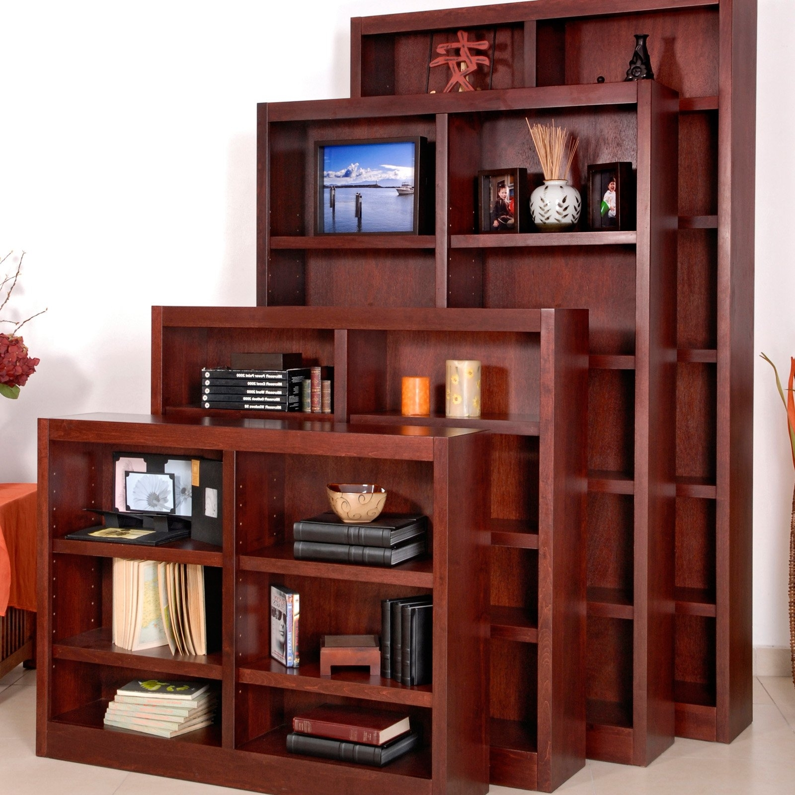 Cherry Bookcases For Widely Used Remmington Heavy Duty Bookcase – Cherry (View 1 of 15)