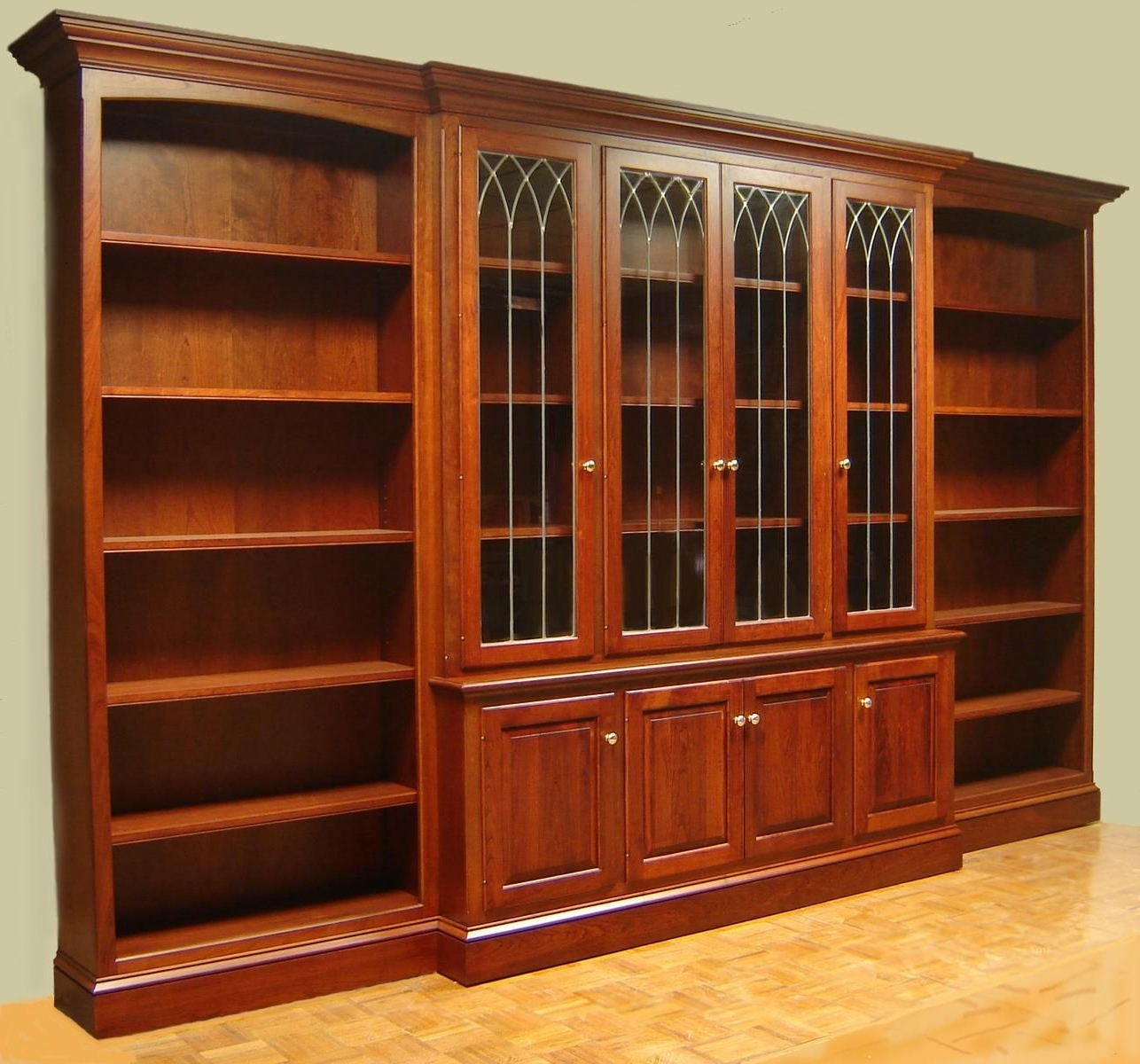 Cherry Bookcases Within Fashionable Hand Crafted Cherry Bookcase With Leaded Glass Doors And Open Side (View 4 of 15)