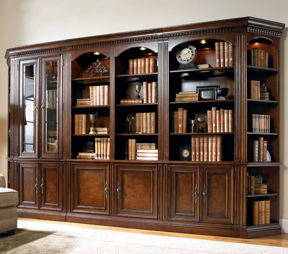 Cherry Wood Bookcases Inside Trendy Hooker Furniture European Renaissance Bookcase Wall Unit (View 4 of 15)