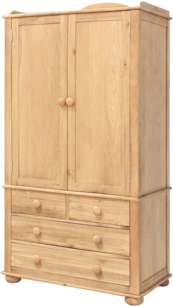 Childrens Double Rail Wardrobes With Recent Oak Wardrobe With Drawers – Children's Double – Baumhaus Amelie (View 4 of 15)