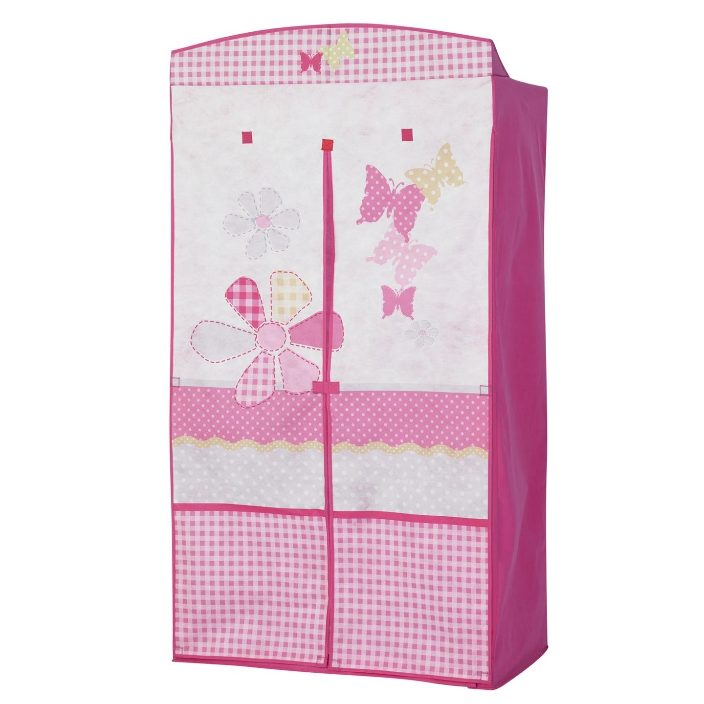 Childrens Pink Wardrobes Regarding Current Pink White Butterfly Fabric Wardrobe With Double Door Of (View 6 of 15)
