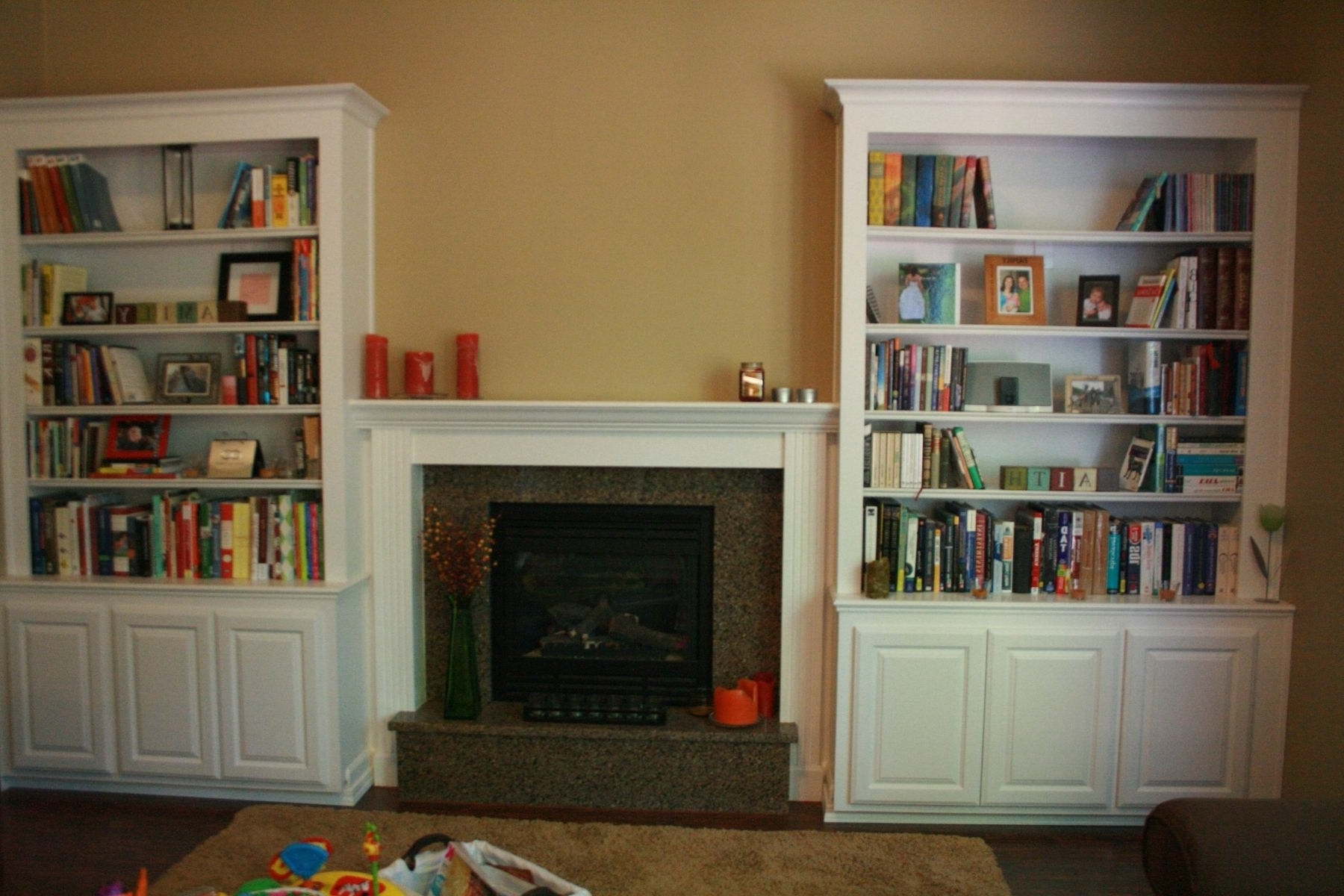 Classic Bookcases Inside Widely Used Classic White Oak Wood Built In Bookcase Combined Brown Wall Color (View 3 of 15)