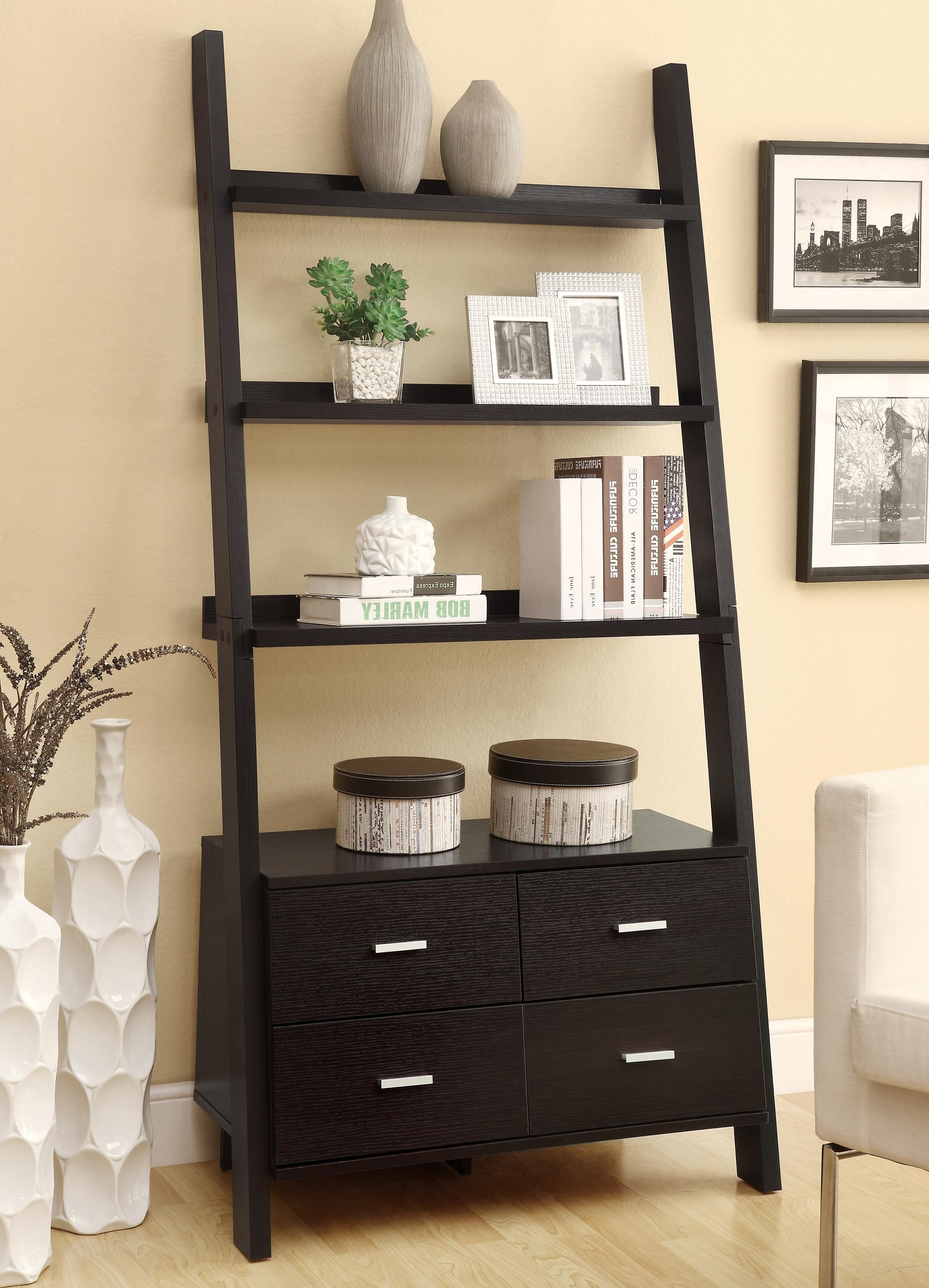 Coaster Bookcases 800319 Leaning Ladder Bookshelf With 2 Drawers With Preferred Leaning Ladder Bookcases (View 3 of 15)