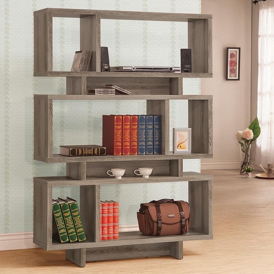 Coaster Bookcases Contemporary Weathered Grey Open Bookcase Inside Preferred Grey Bookcases (View 2 of 15)