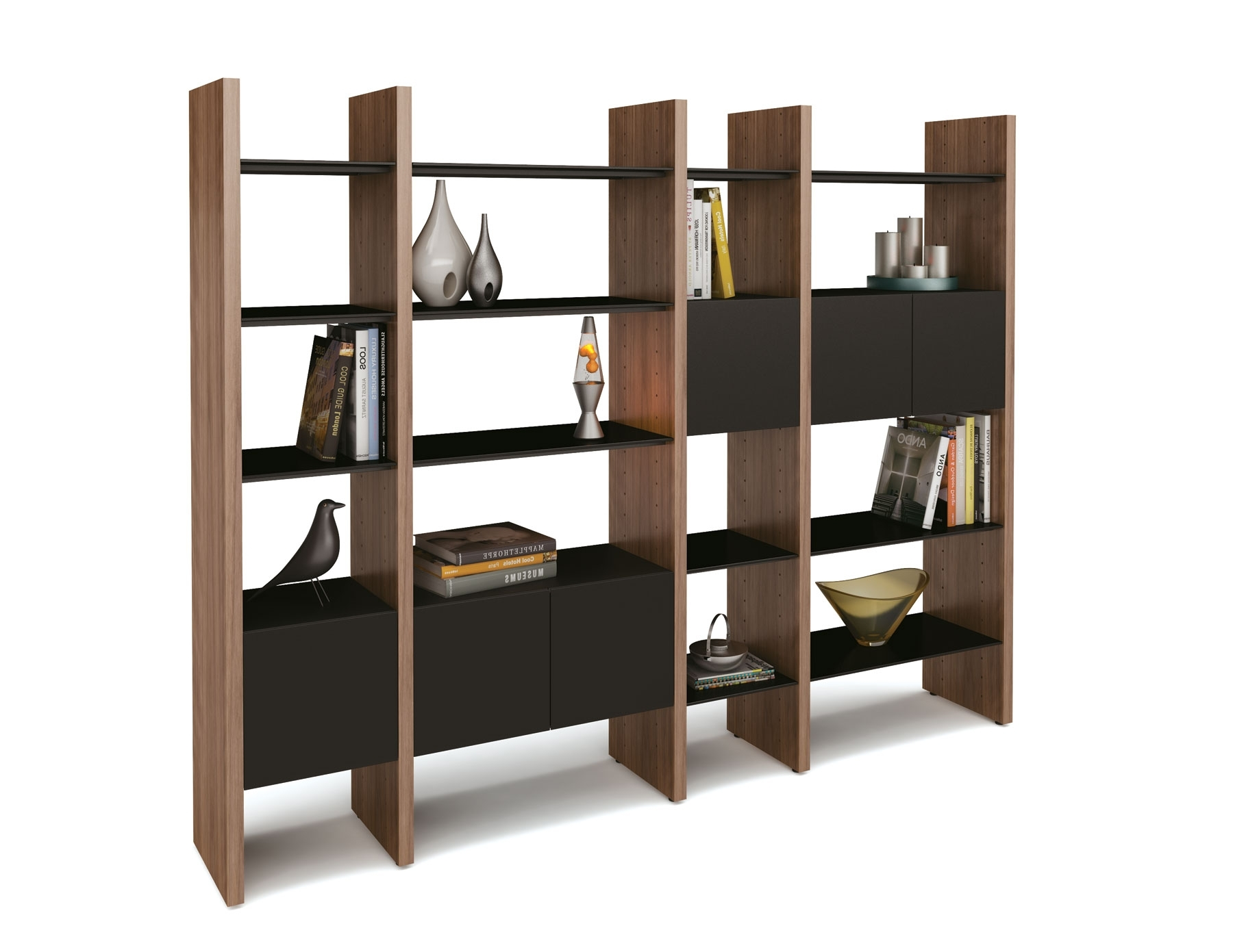 Contemporary Oak Shelving Units With Regard To Current Outstanding Modern Shelving Units With Wooden Divider In Brown (View 5 of 15)
