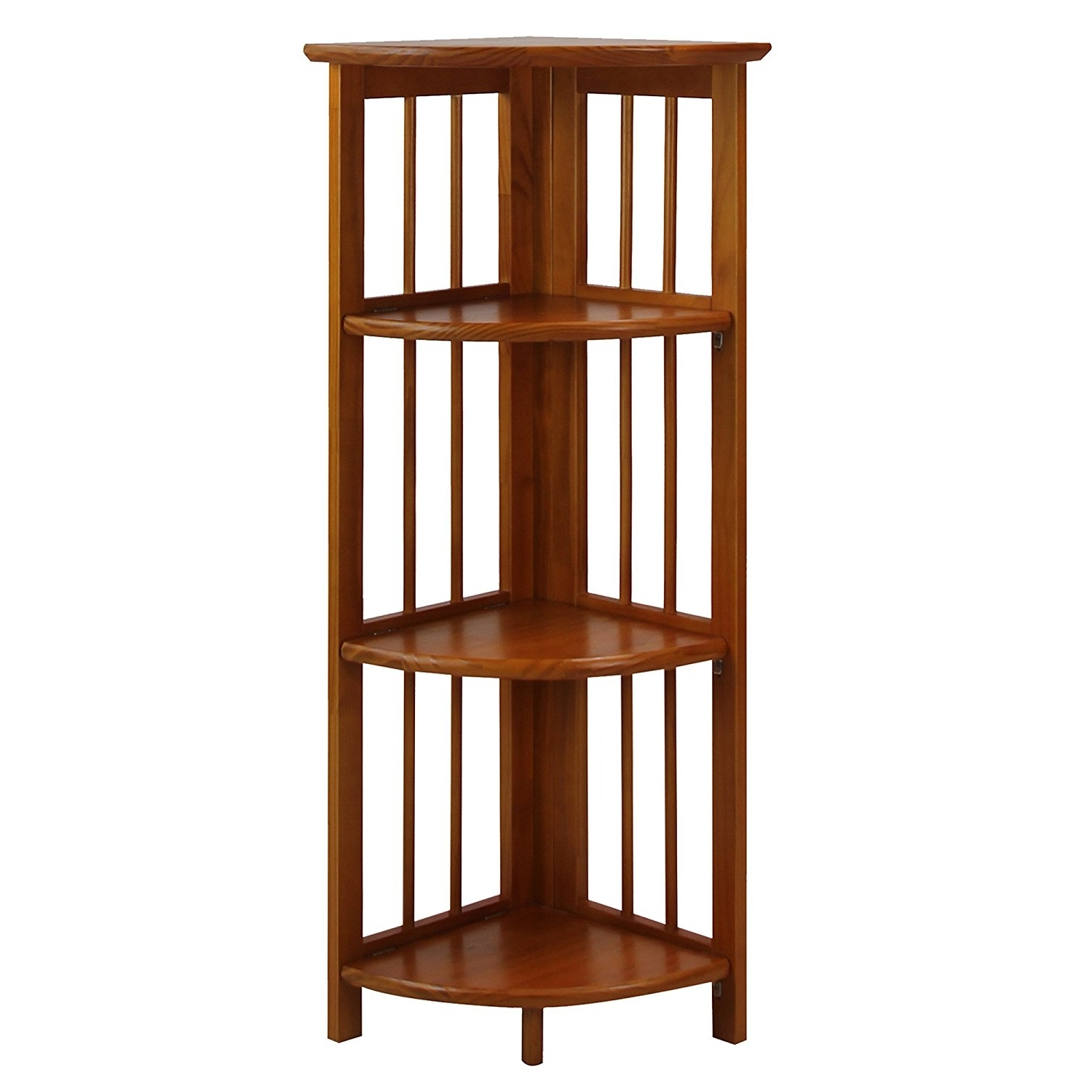 Corner Oak Bookcases Intended For Latest Amazon: Casual Home 315 15 4 Shelf Corner Folding Bookcase (View 7 of 15)
