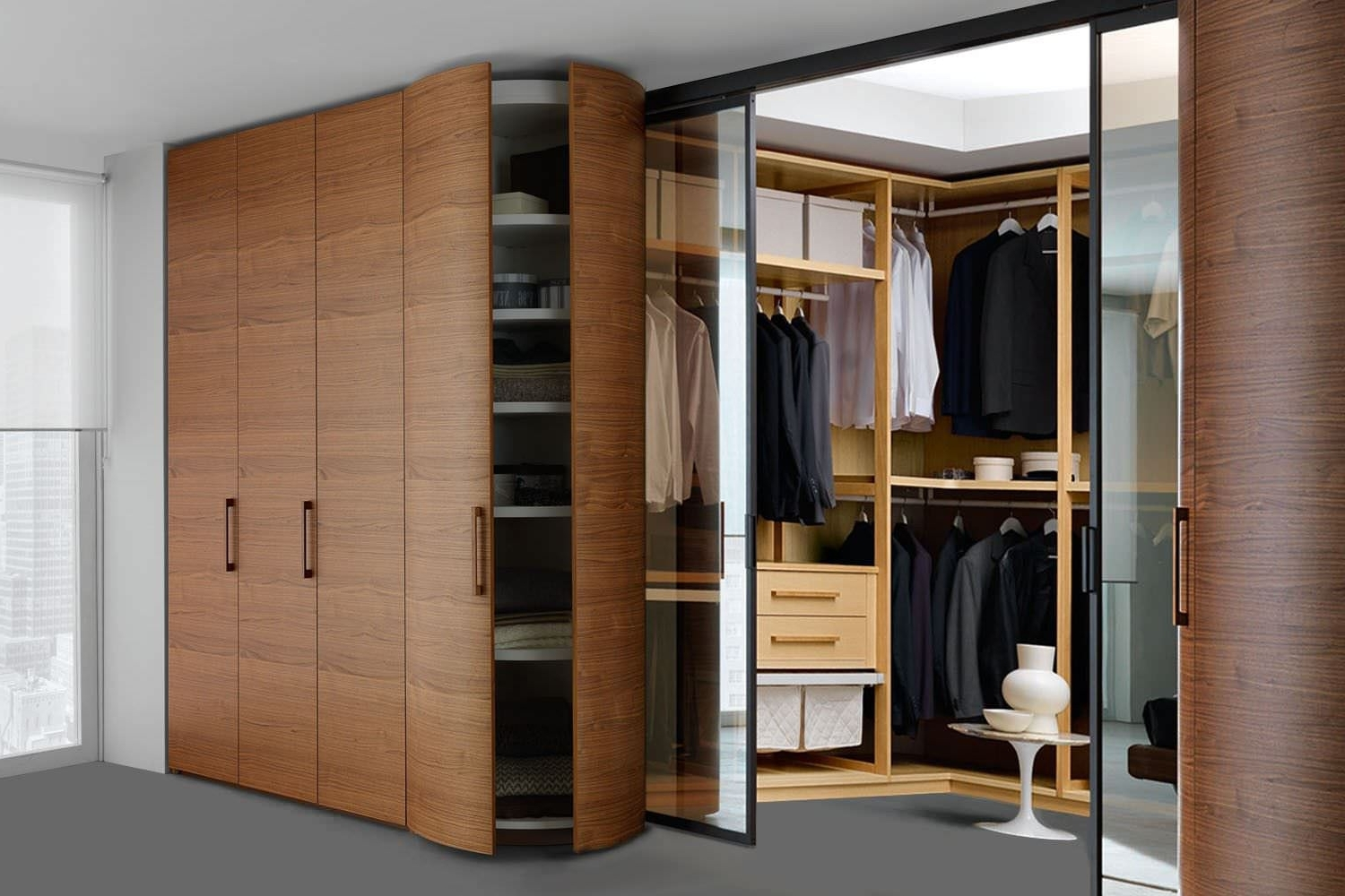 Corner Wardrobe / Contemporary / Wooden / Glossy Lacquered Wood Throughout Fashionable Curved Corner Wardrobes Doors (View 4 of 15)