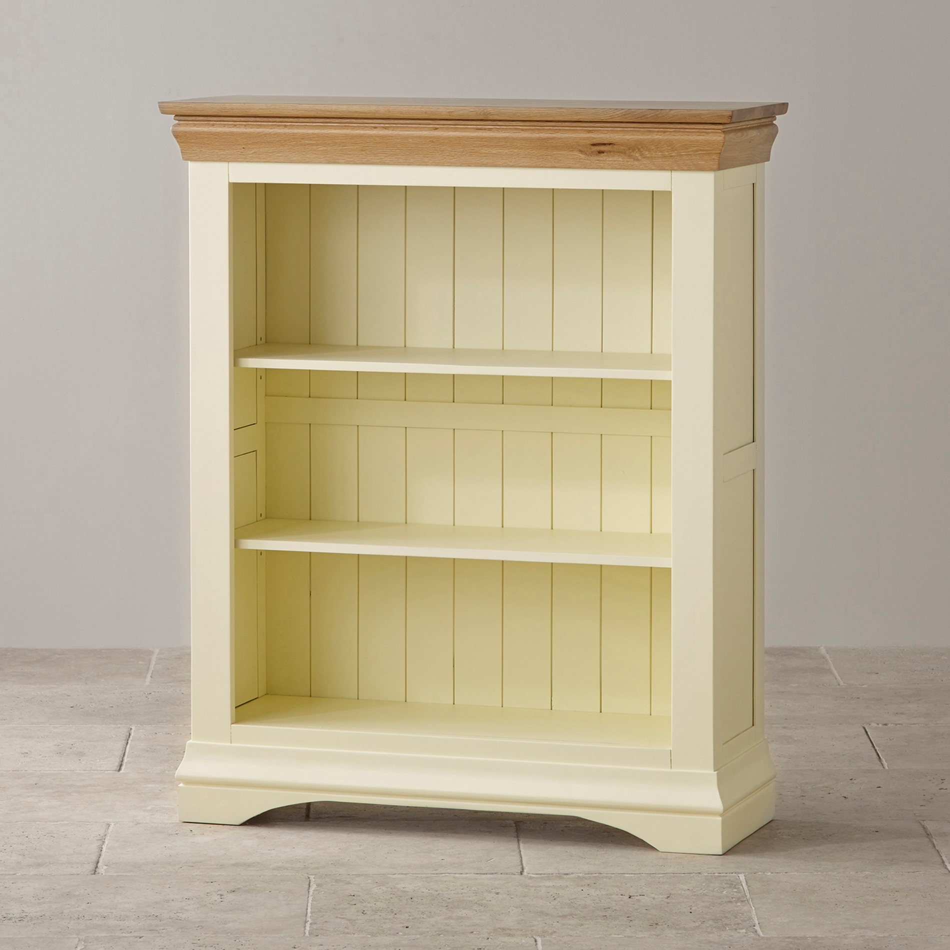 Country Cottage Small Painted Bookcase In Solid Oak Intended For 2017 Painted Wood Bookcases (View 12 of 15)
