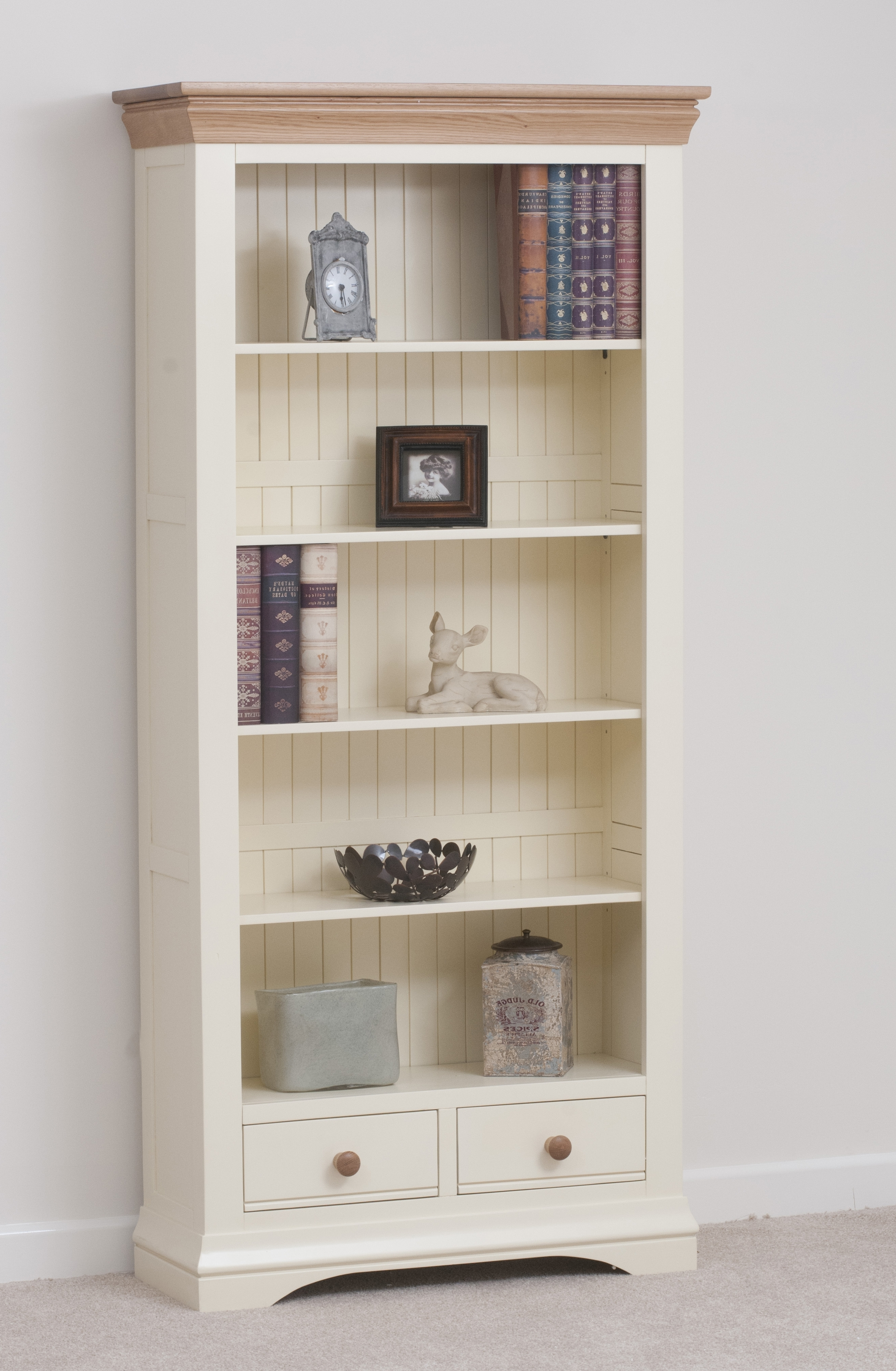 Cream Large Bookcase Inside Bookcases With Cupboard (View 9 of 15)