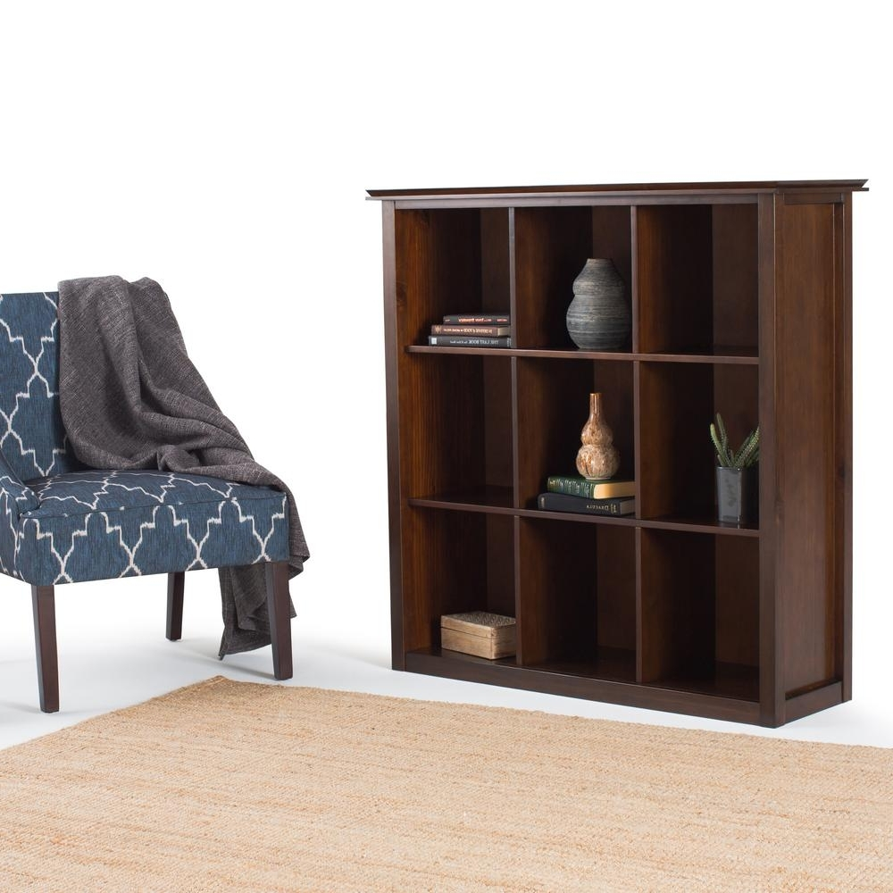 Cube Bookcases For Most Up To Date Simpli Home Artisan Medium Brown Auburn Brown Open Bookcase (View 3 of 15)