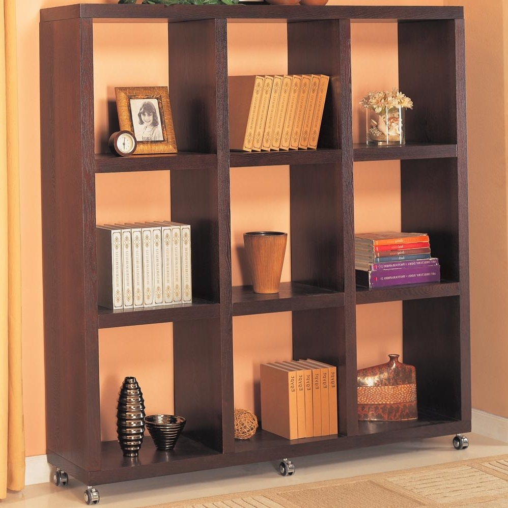 Cube Bookcases In Well Known Coaster Cappuccino Contemporary Cube Bookshelf With Casters  (View 4 of 15)