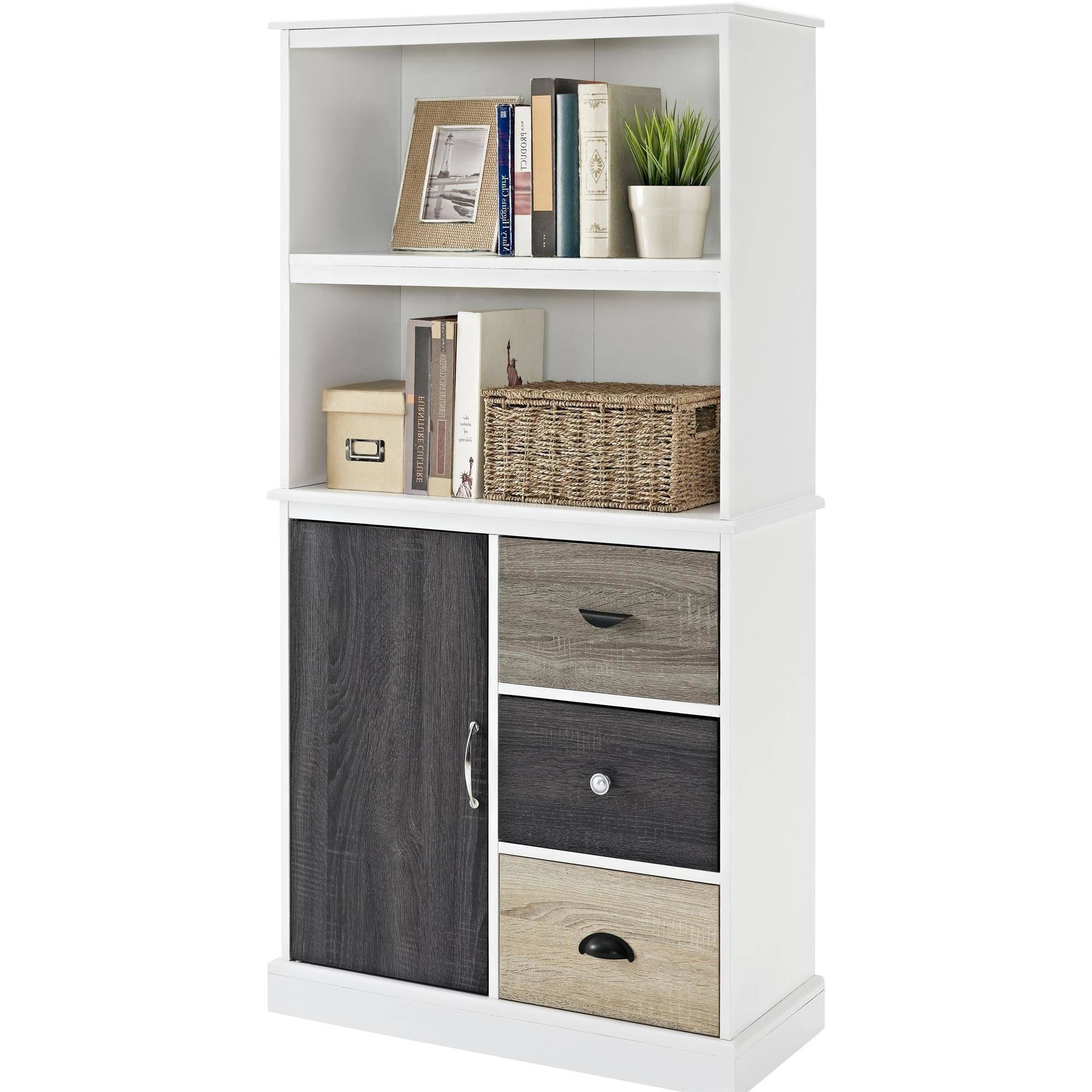 Current Ameriwood Home Mercer Storage Bookcase With Multicolored Door And Within White Walmart Bookcases (View 3 of 15)