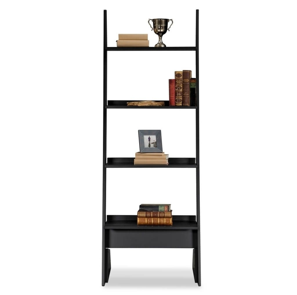 Current Bed Bath And Beyond Bookcases Inside Furniture: Attractive 4 Tier Black Leaning Bookcase Design (View 8 of 15)