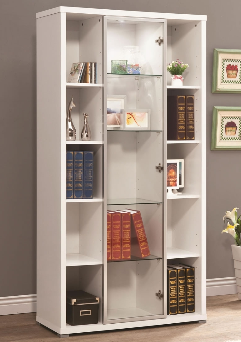 Current Book Cabinet Design With Bookcase Door White Book Cabinet With Glass Among Open Shelf Doors (View 10 of 15)