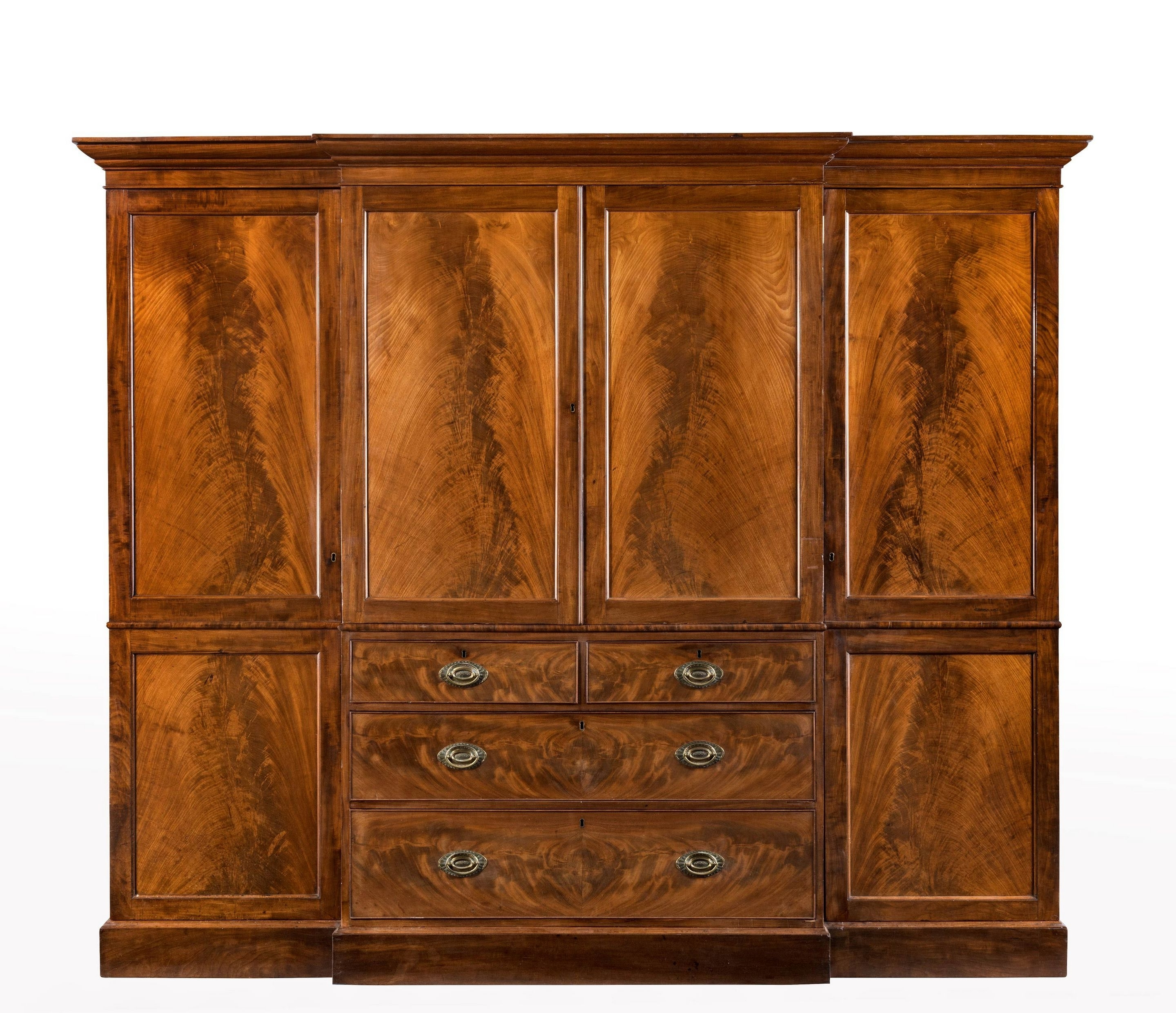 Current Breakfront Wardrobe With Regard To George Iii Period Mahogany Breakfront Wardrobe With Beautifully (View 6 of 15)