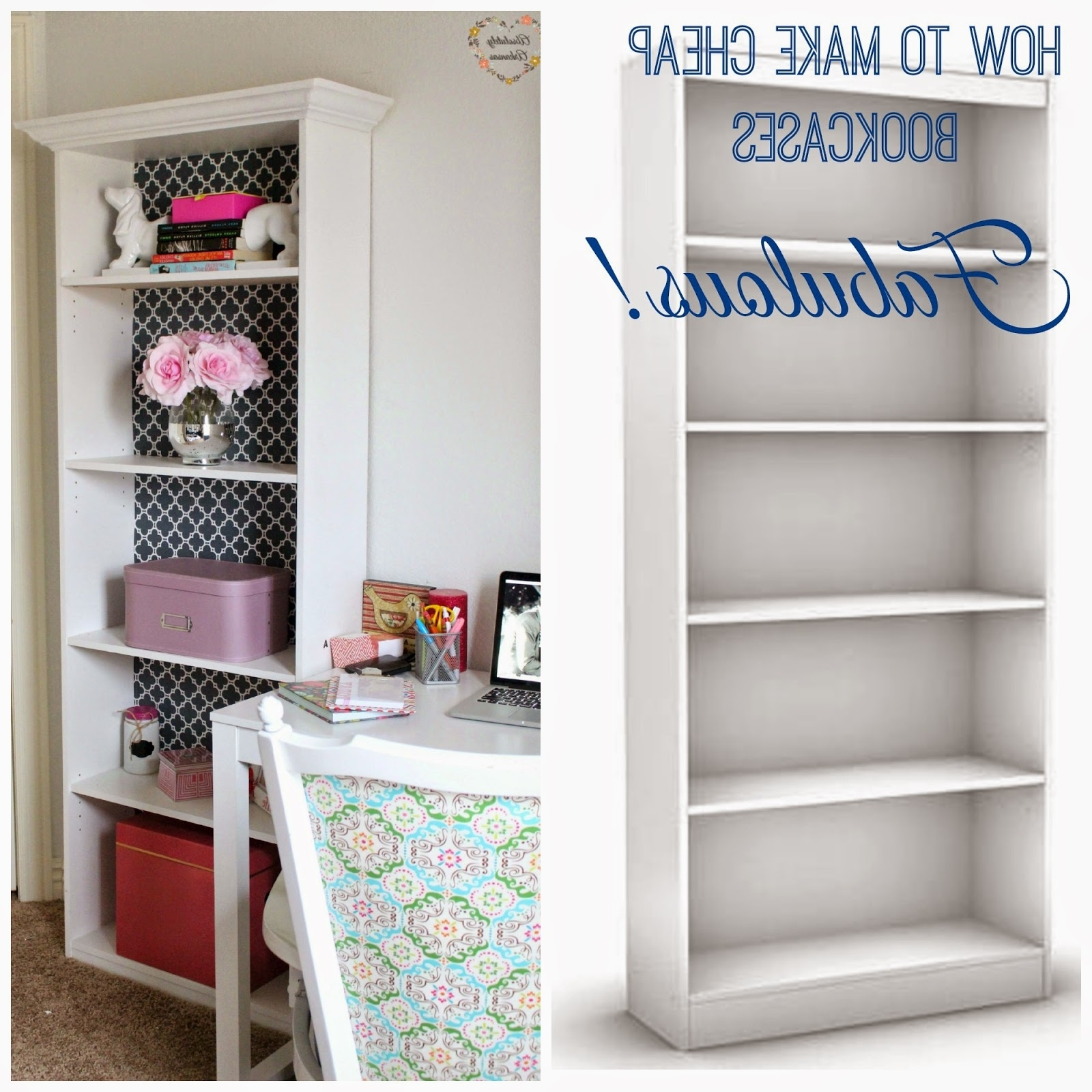 Current Cheap Bookcases Regarding Rose & Co Blog: Girly Office Progress: Making Cheap Bookcases Fabulous (View 5 of 15)